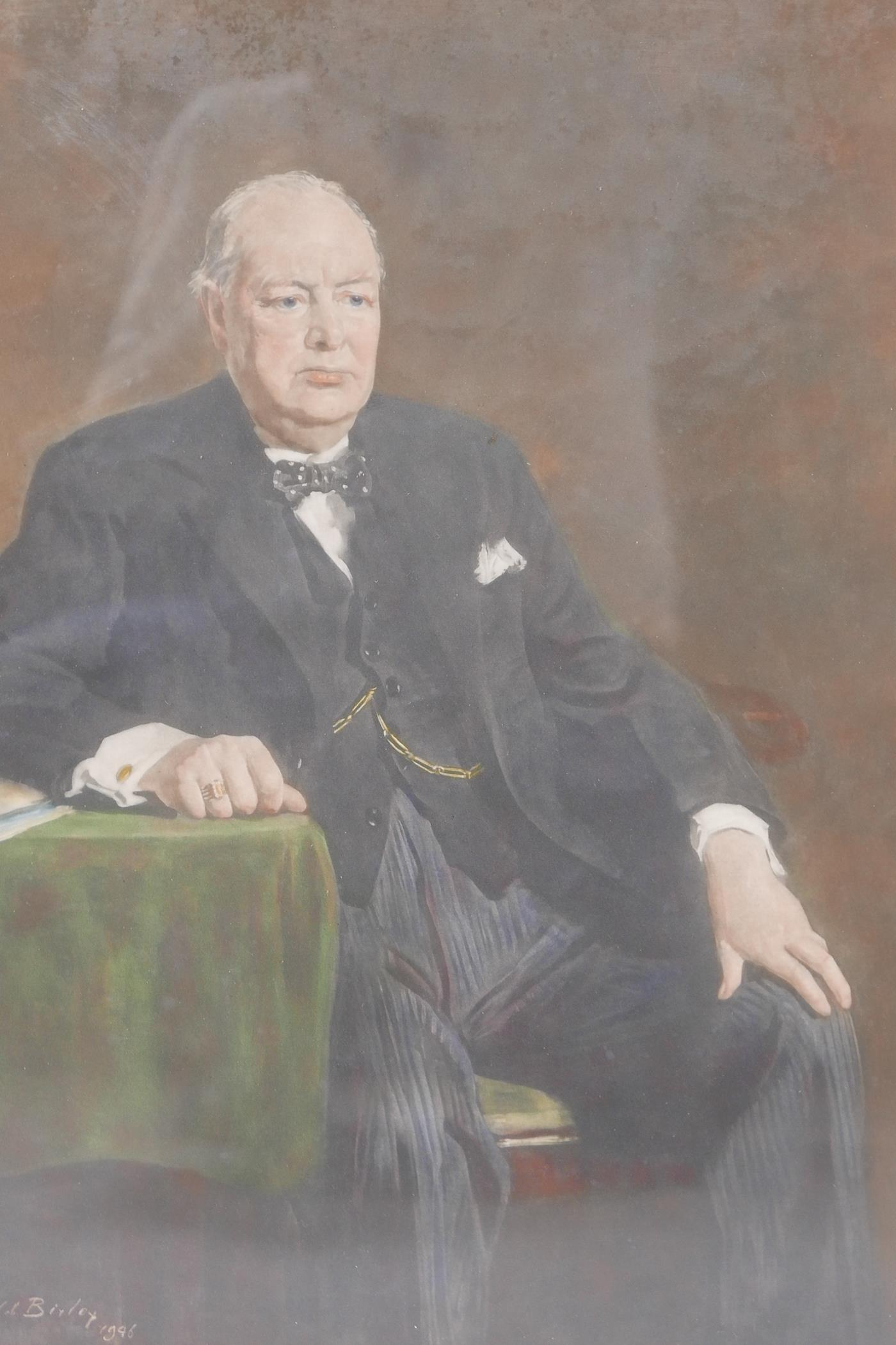 """After Oswald Birley, lithographic print of Sir Winston Churchill, 17"""" x 22"""""""