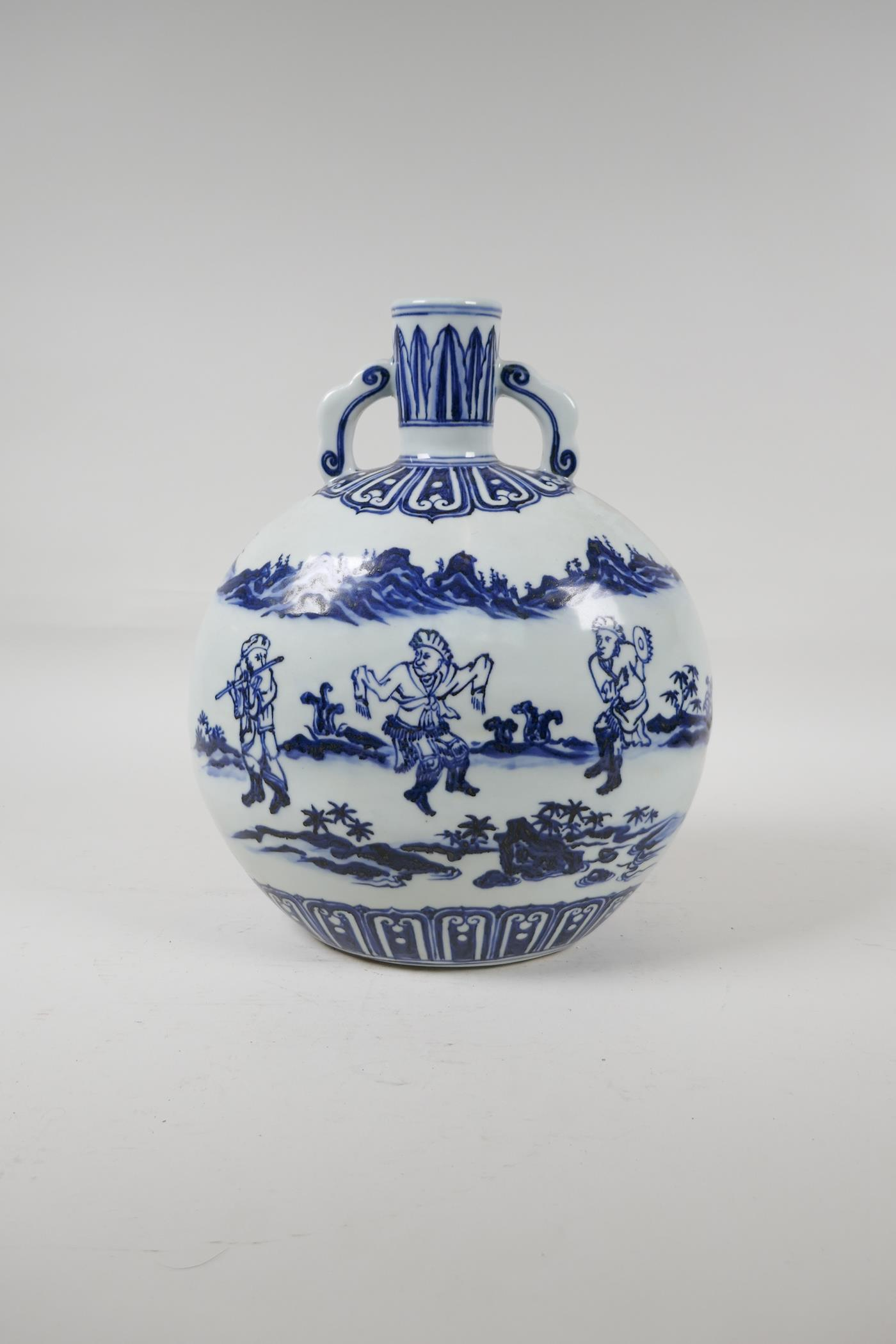A blue and white porcelain two handled moon flask decorated with musicians in a landscape, Chinese - Image 2 of 5