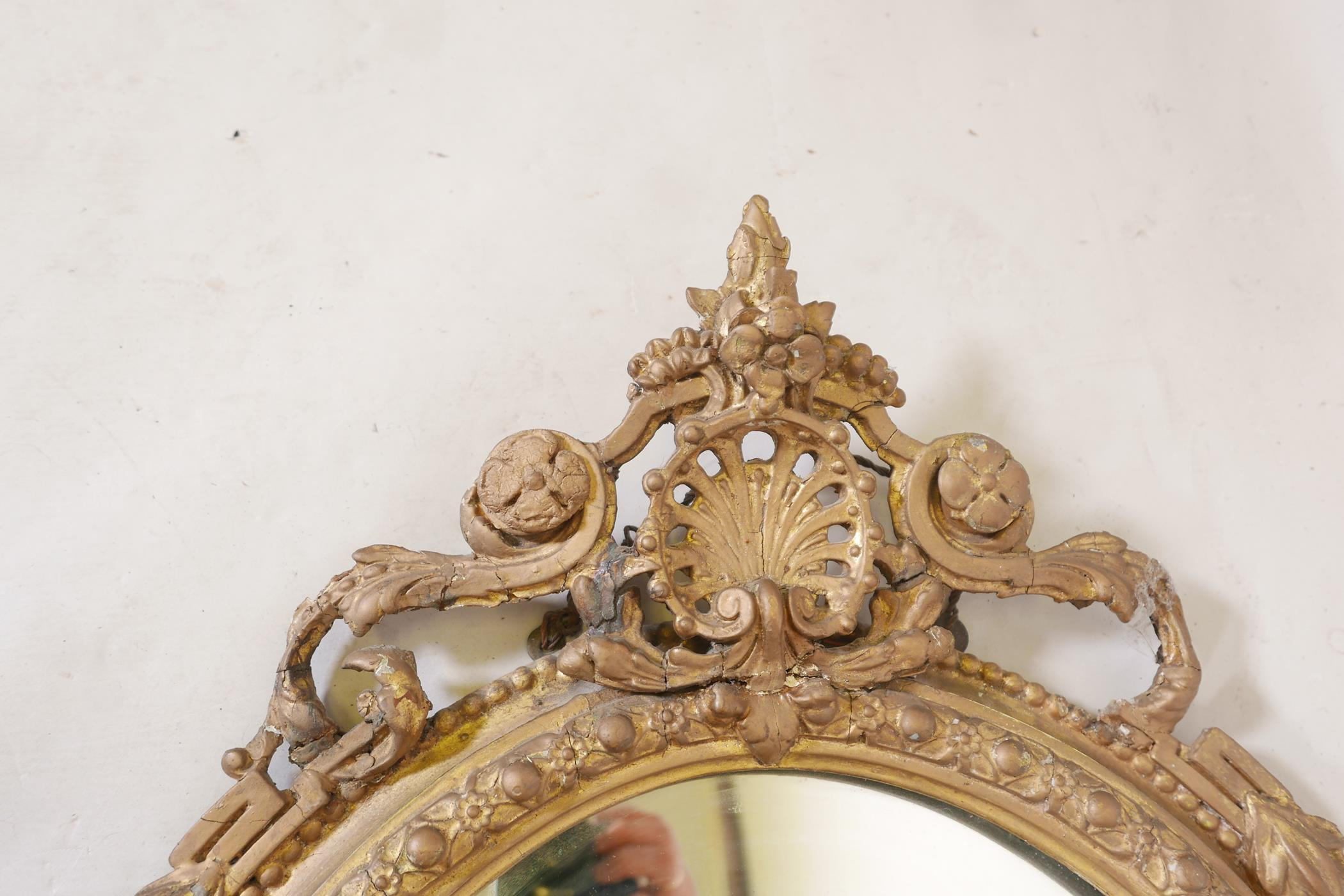 """A C19th giltwood and composition girondelle wall mirror with triple sconce, 37"""" x 23"""" - Image 4 of 5"""