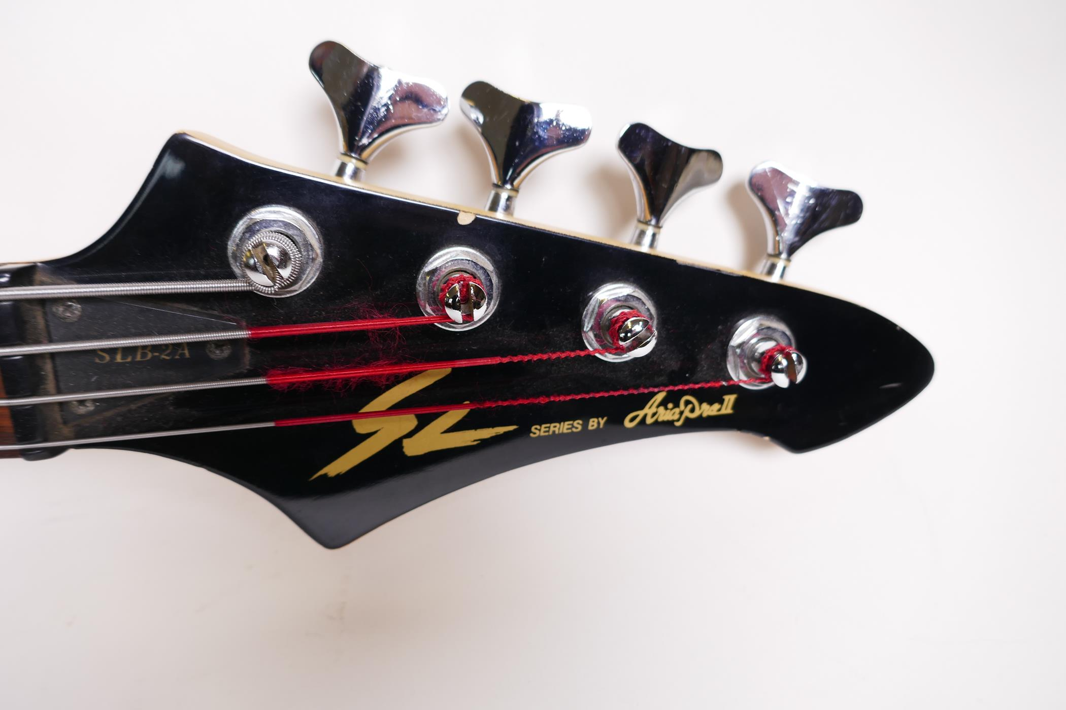 "An Aria Pro II bass guitar with three Aria II pick ups, 45"" long - Image 2 of 3"