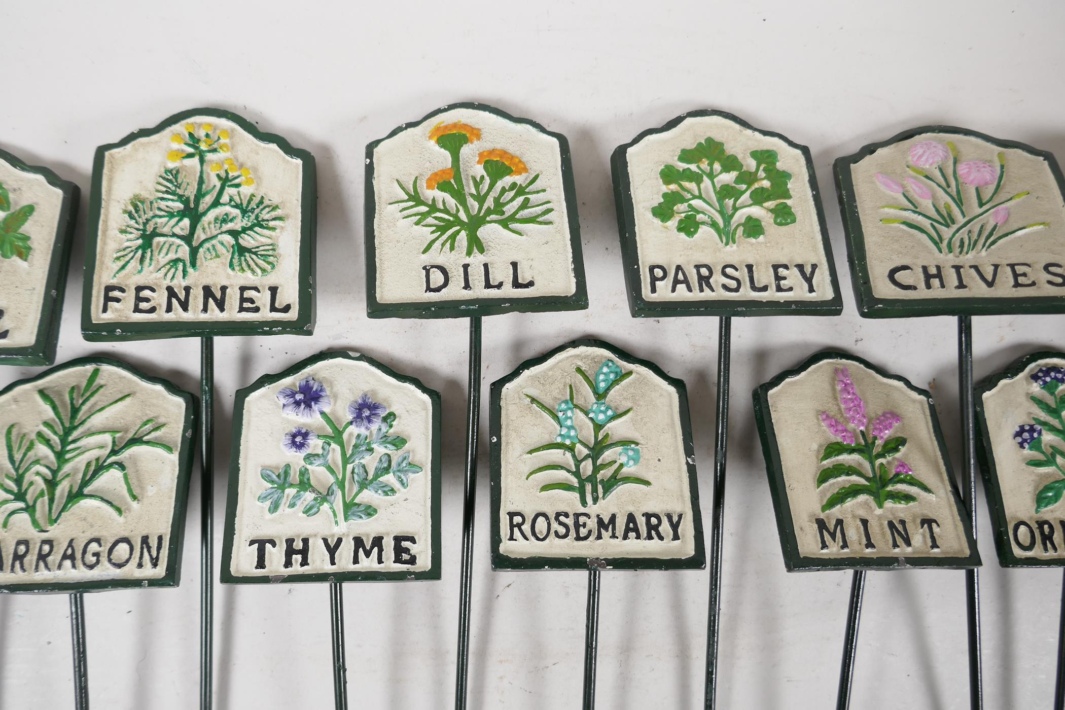 """A set of twelve painted cast iron herb markers, 3"""" x 2½"""" - Image 3 of 4"""