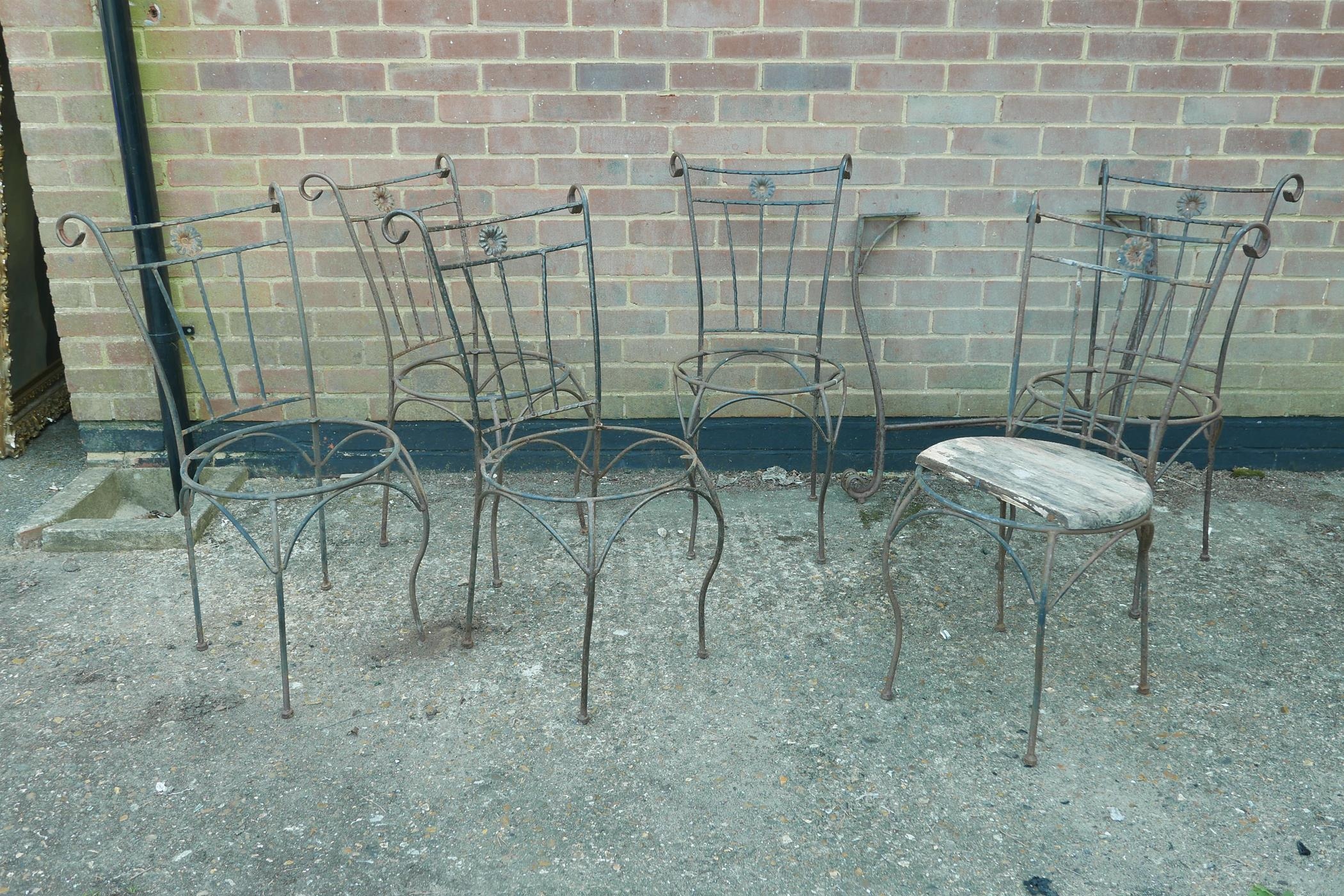 A set of six wrought iron garden chairs and matching table base, A/F, lack seats - Image 3 of 4