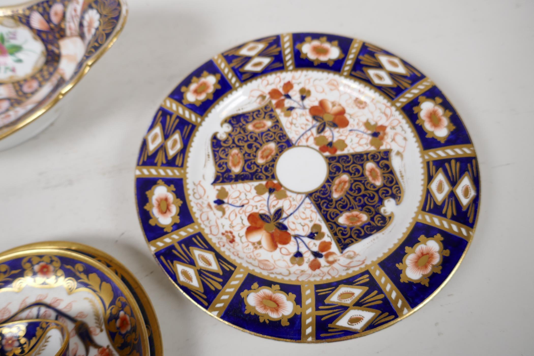 """Two Derby Japan pattern porcelain trios, a plate 8"""", and an oval bowl - Image 5 of 5"""