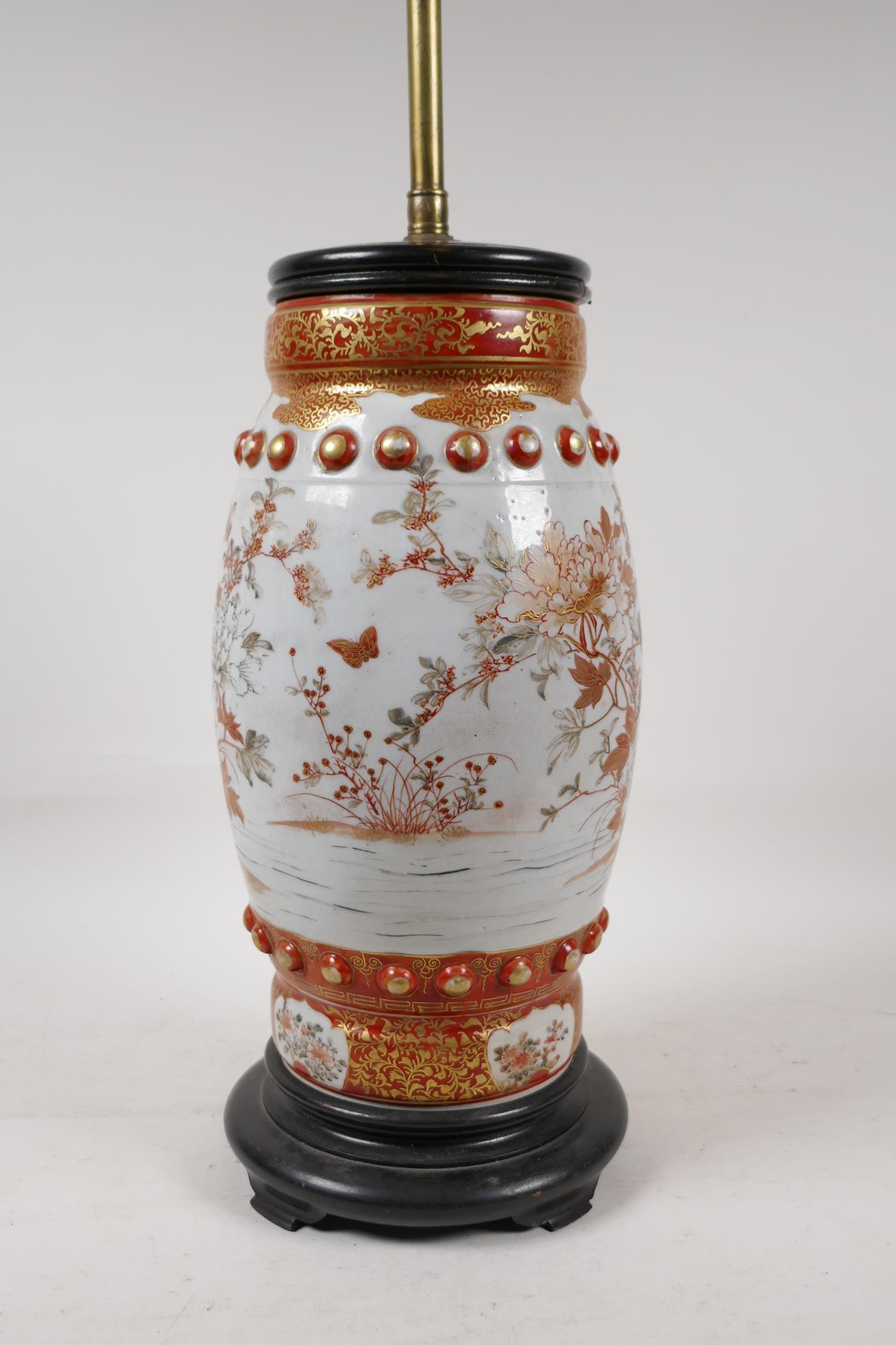 A Japanese Meiji period satsuma pottery vase decorated with flowers and butterflies, converted to - Image 4 of 5