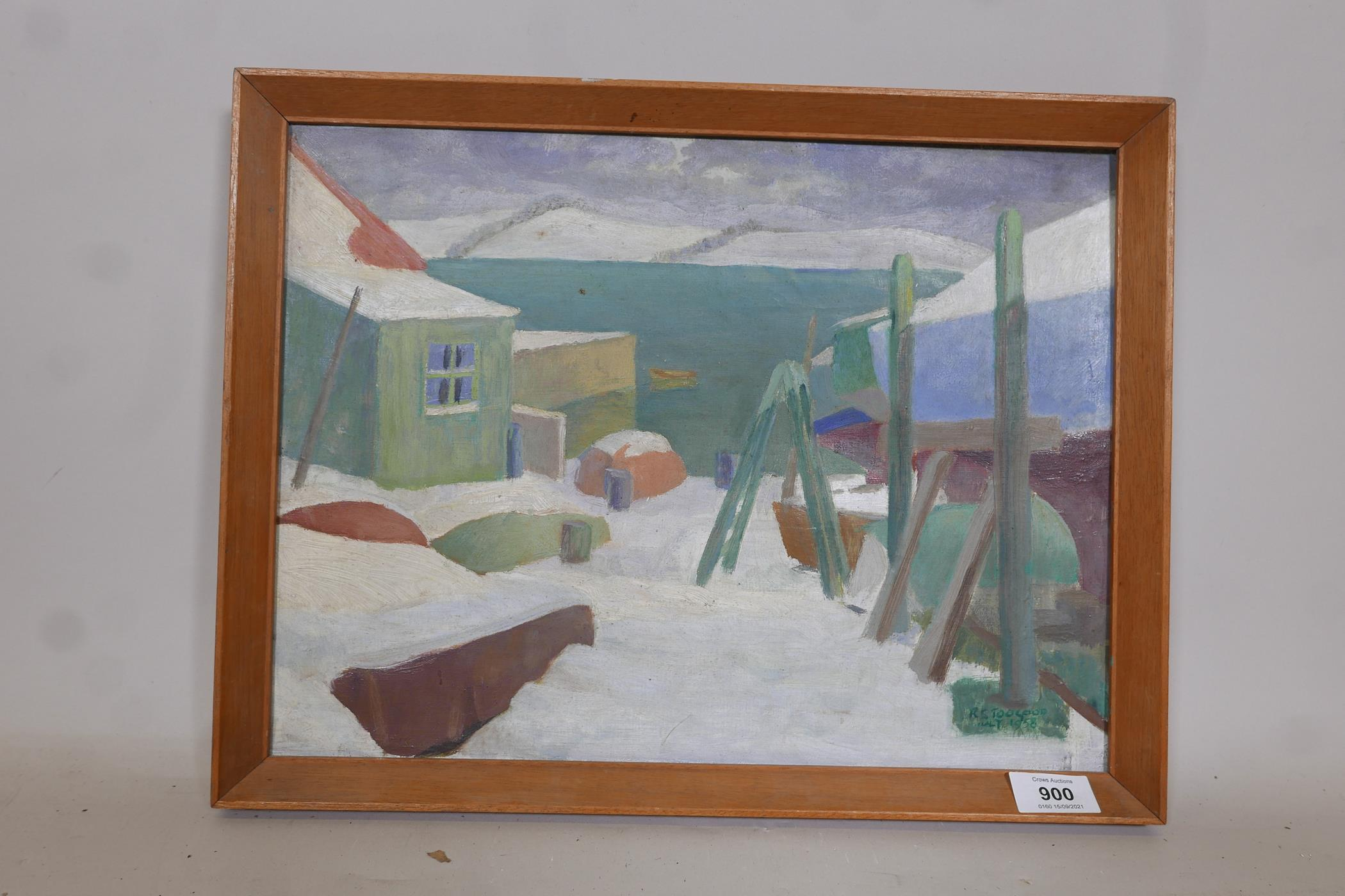 Romeo Charles Toogood, (Irish), harbour scene under snow, signed and dated 1958, inscribed verso, - Image 2 of 5