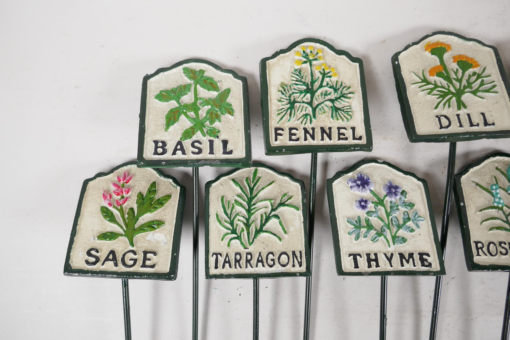 """A set of twelve painted cast iron herb markers, 3"""" x 2½"""" - Image 2 of 4"""
