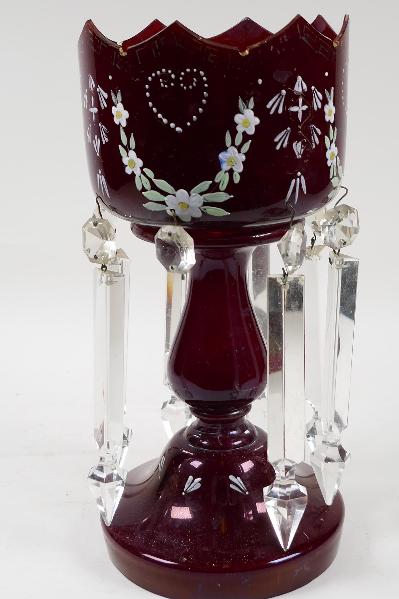 A Victorian ruby glass table lustre with crystal drops, and painted with flowers, one drop missing, - Image 3 of 3