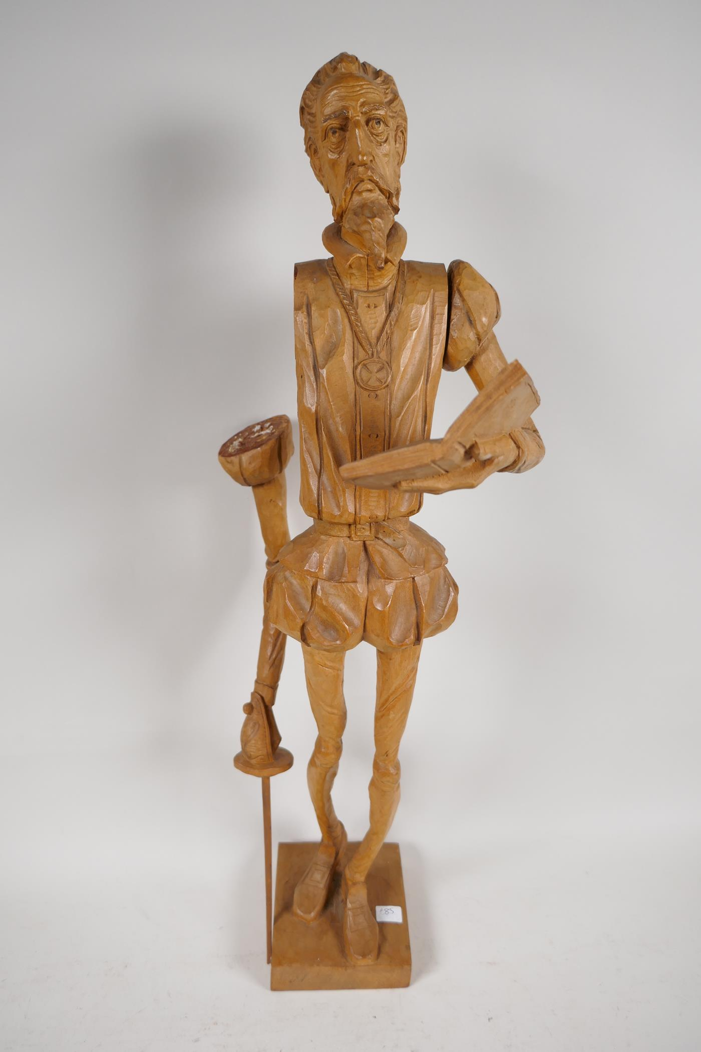 Two carved wood models of Don Quioxte and Sancho Panza, and a carved wood figure of the Don, A/F - Image 2 of 6