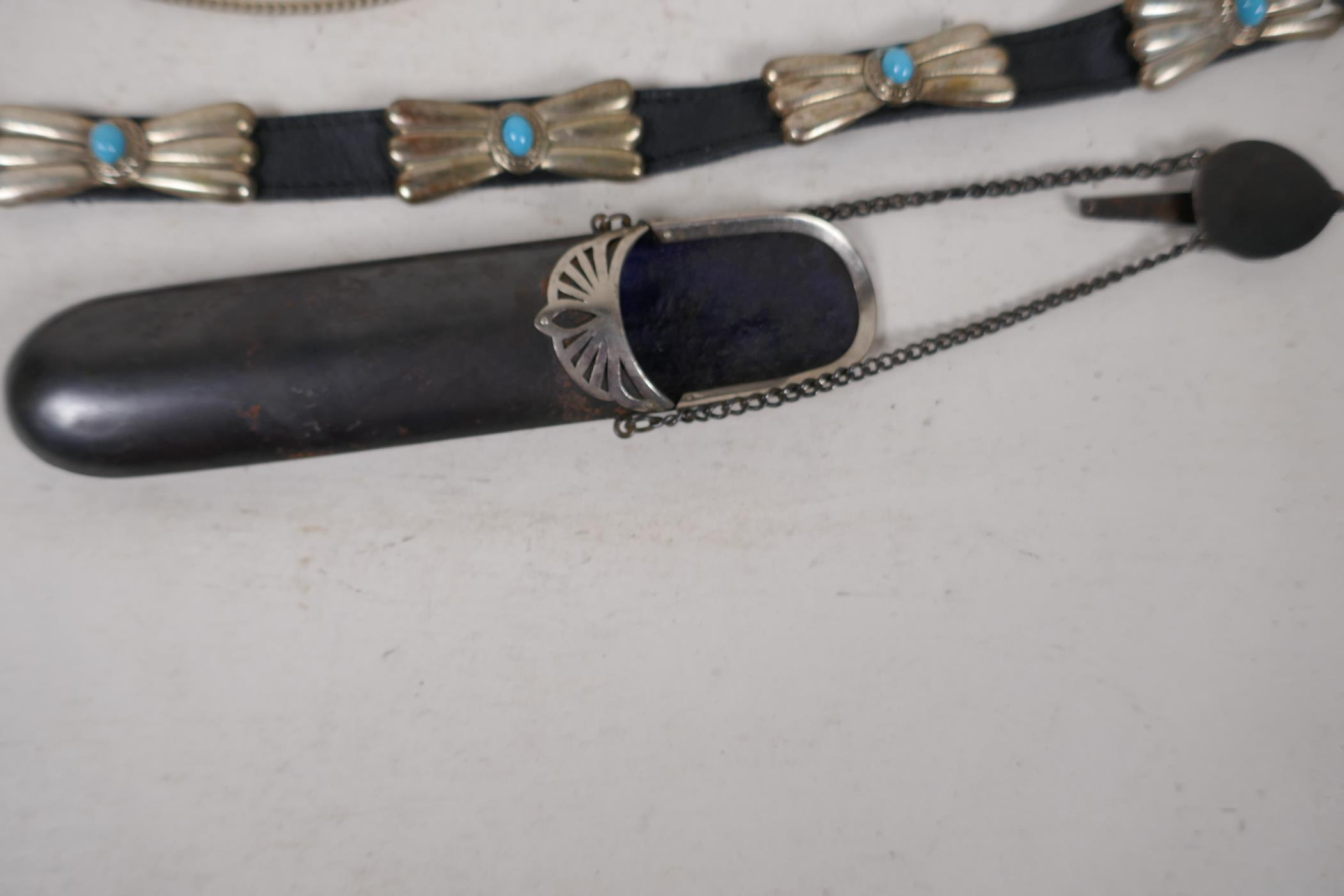 """A white metal and enamel belly dancer's belt, 37"""" long, together with a white metal and turquoise - Image 4 of 5"""