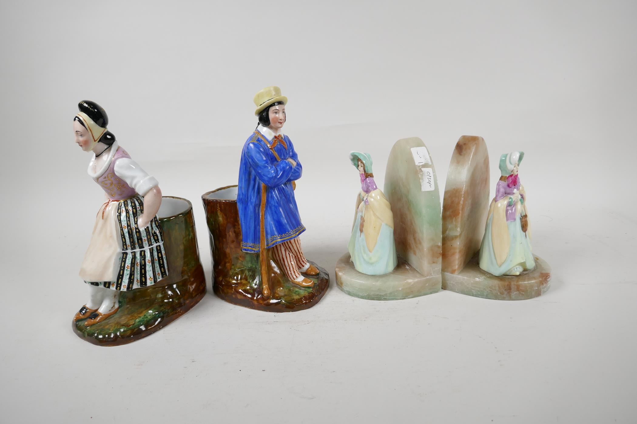 """A pair of continental porcelain spill vases modelled as a man and woman seated on tree stumps, 8½"""" - Image 4 of 6"""