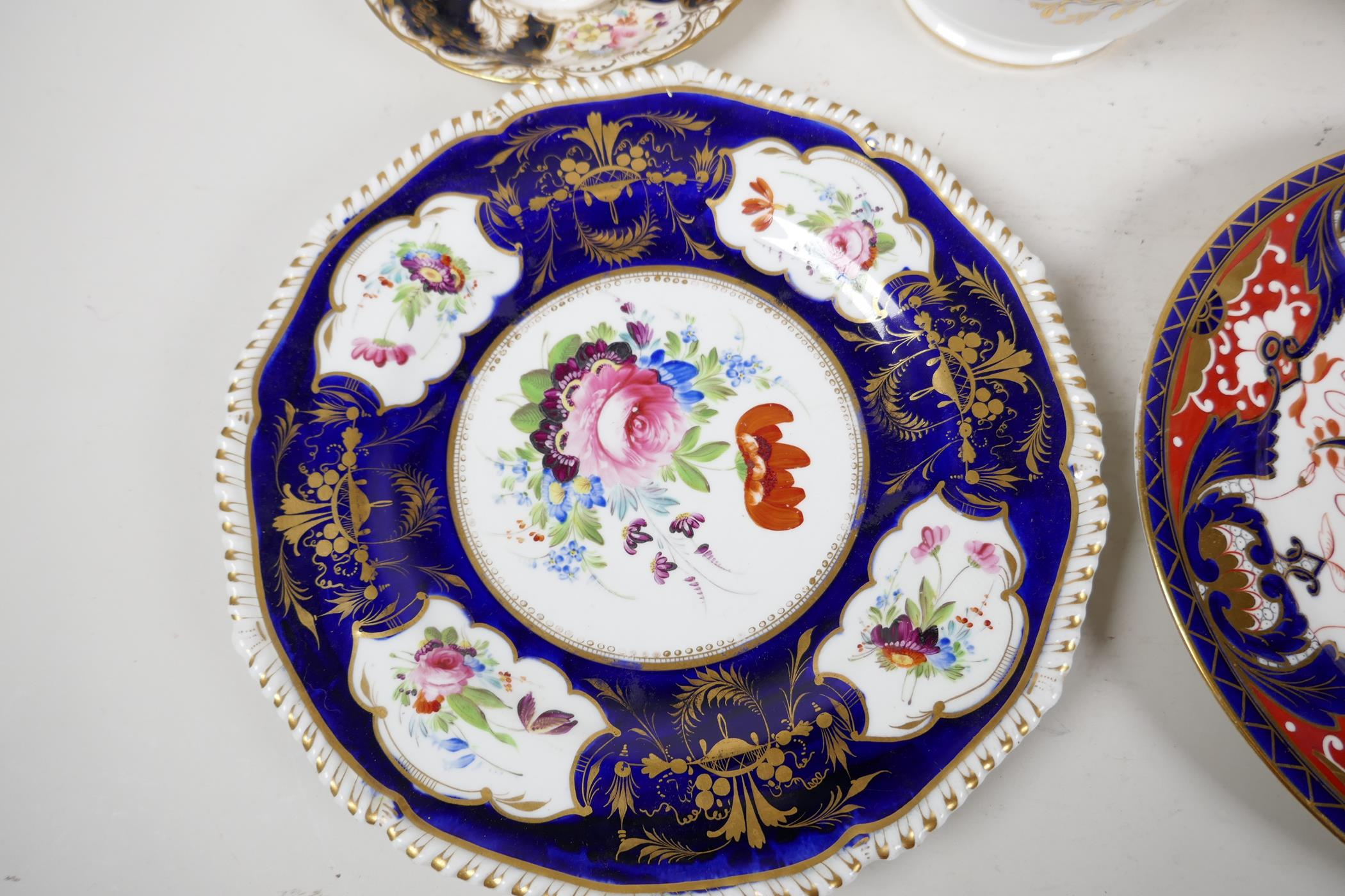 """A Crown Derby sauce tureen and cover, with hand painted flowers and gilt highlights, 6½"""" wide, and - Image 2 of 7"""