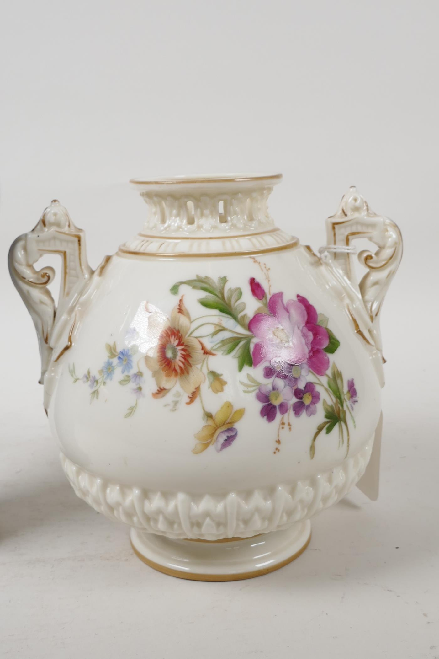 """A Royal Worcester vase with two handles and reticulated neck, 6"""" high, and a porcelain vase - Image 3 of 5"""