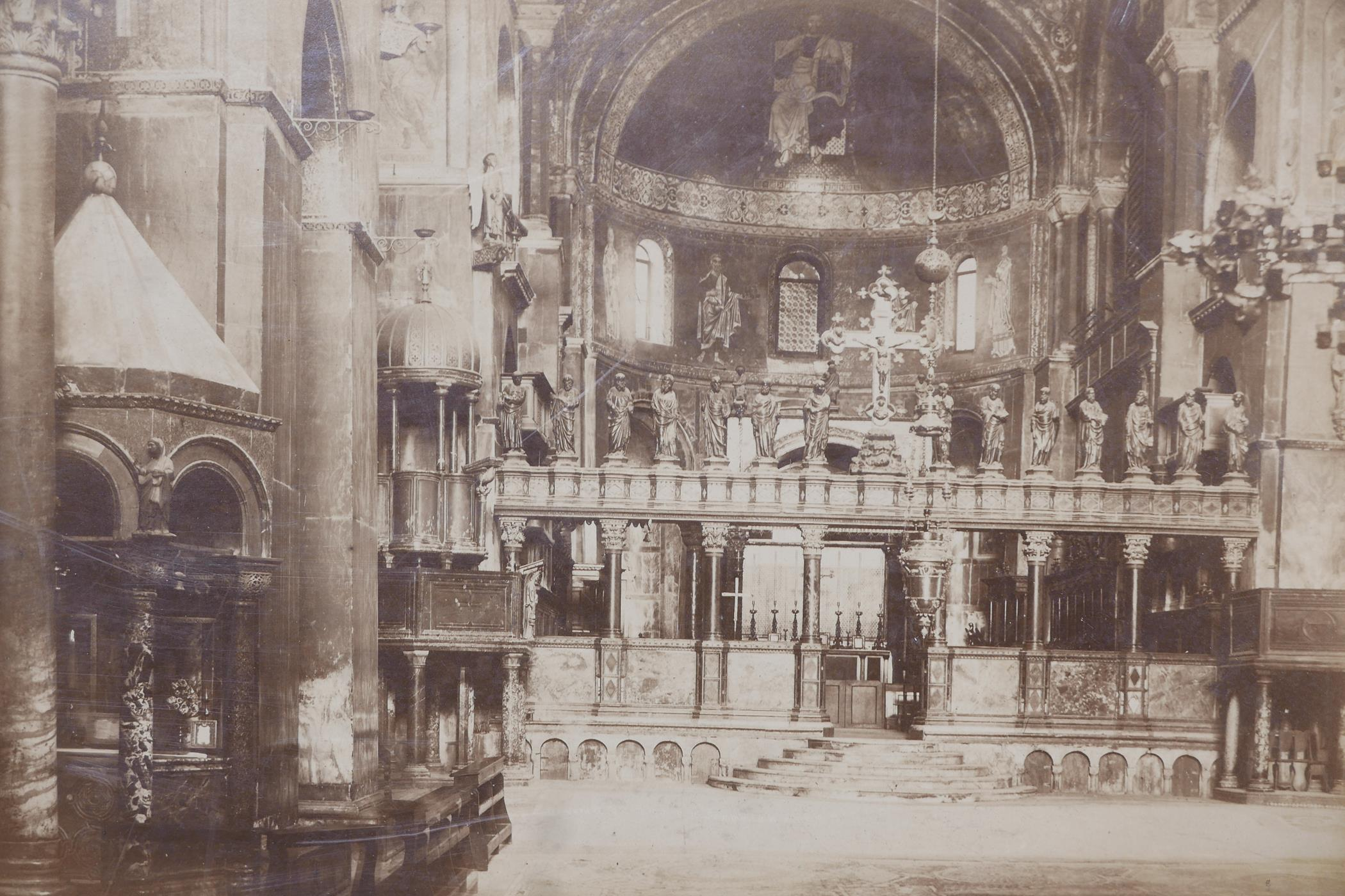 Three original sepia photographs of C19th Venice, Piazza di San Marco, the Basilica and the Arsenal, - Image 4 of 5