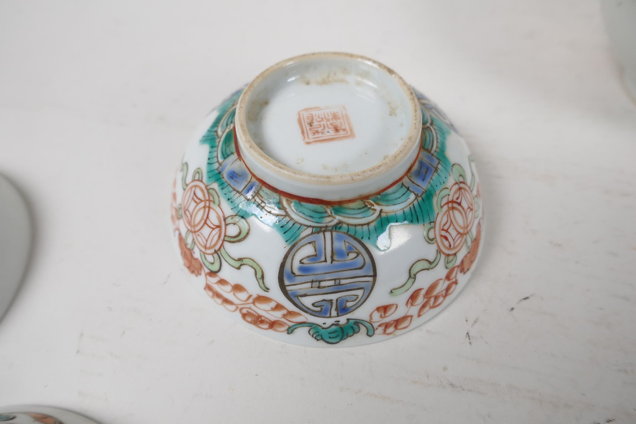 Six assorted Chinese republic period porcelain tea bowls with famille rose and vert enamel - Image 3 of 7