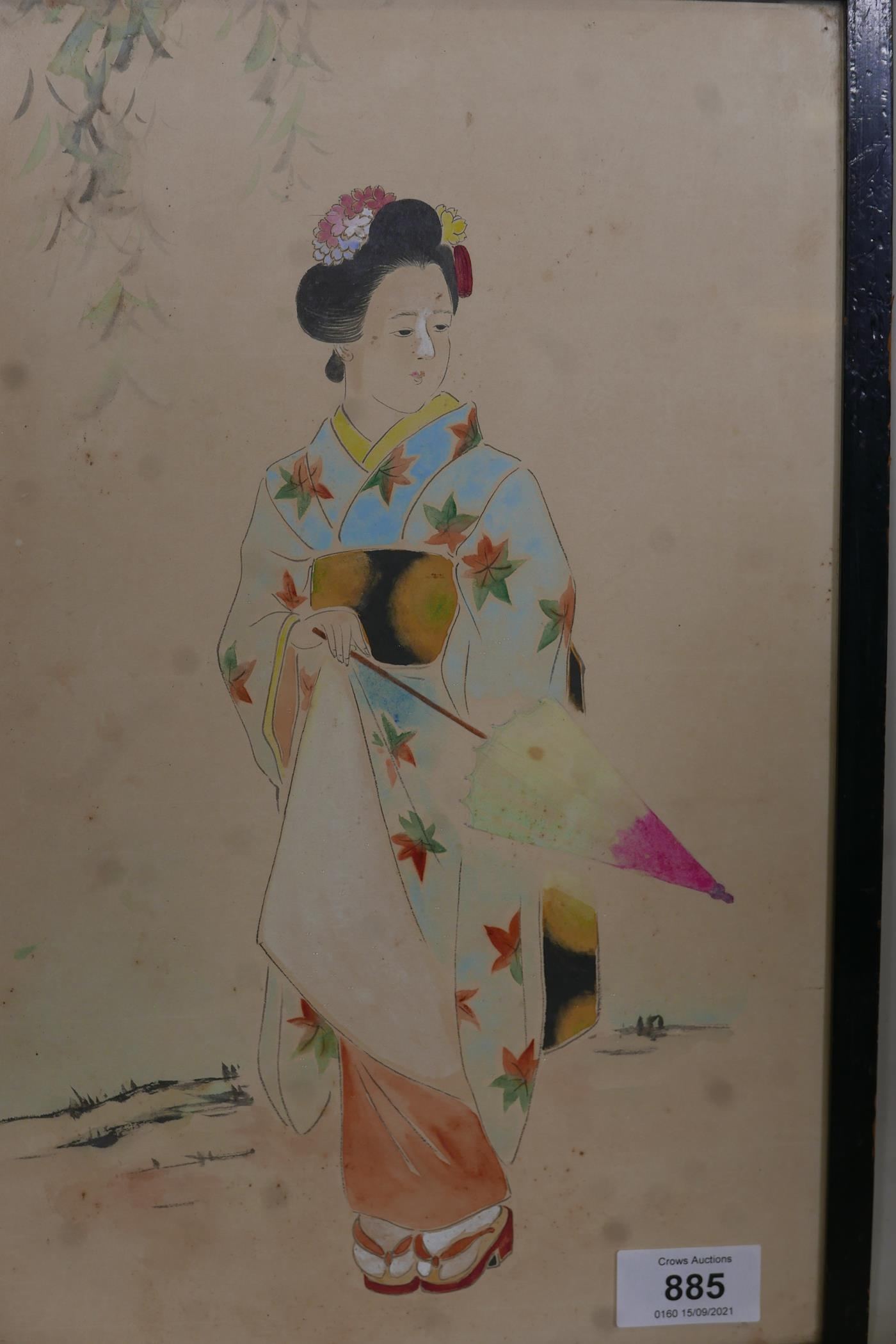 """Japanese woman with parasol, unsigned watercolour, late C19th/early C20th, 14"""" x 9"""""""