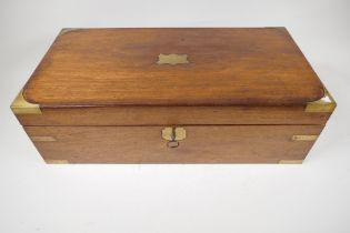 """A brass bound mahogany writing box with fitted interior, 20"""" x 10"""" x 6½"""""""