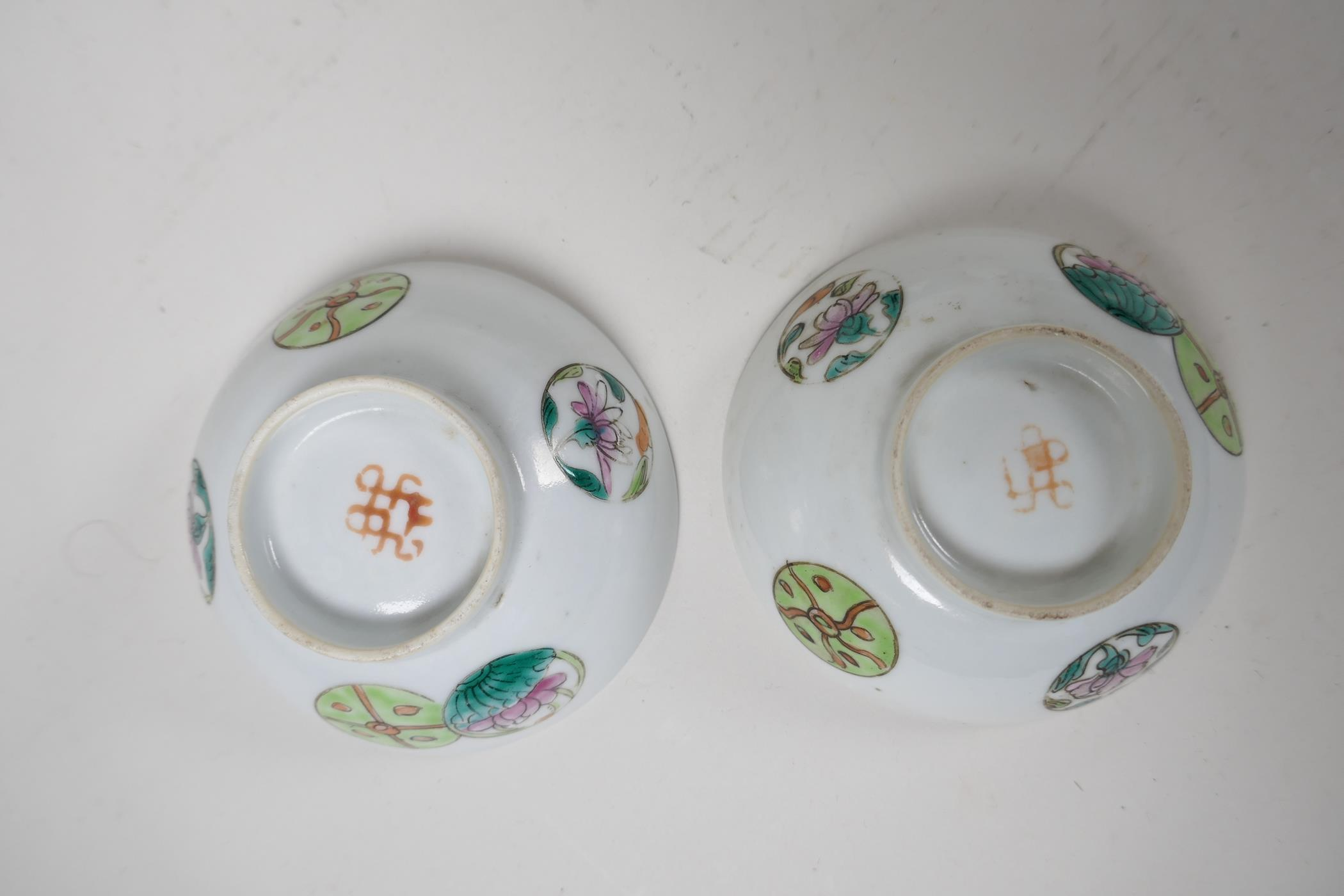 Six assorted Chinese republic period porcelain tea bowls with famille rose and vert enamel - Image 2 of 7