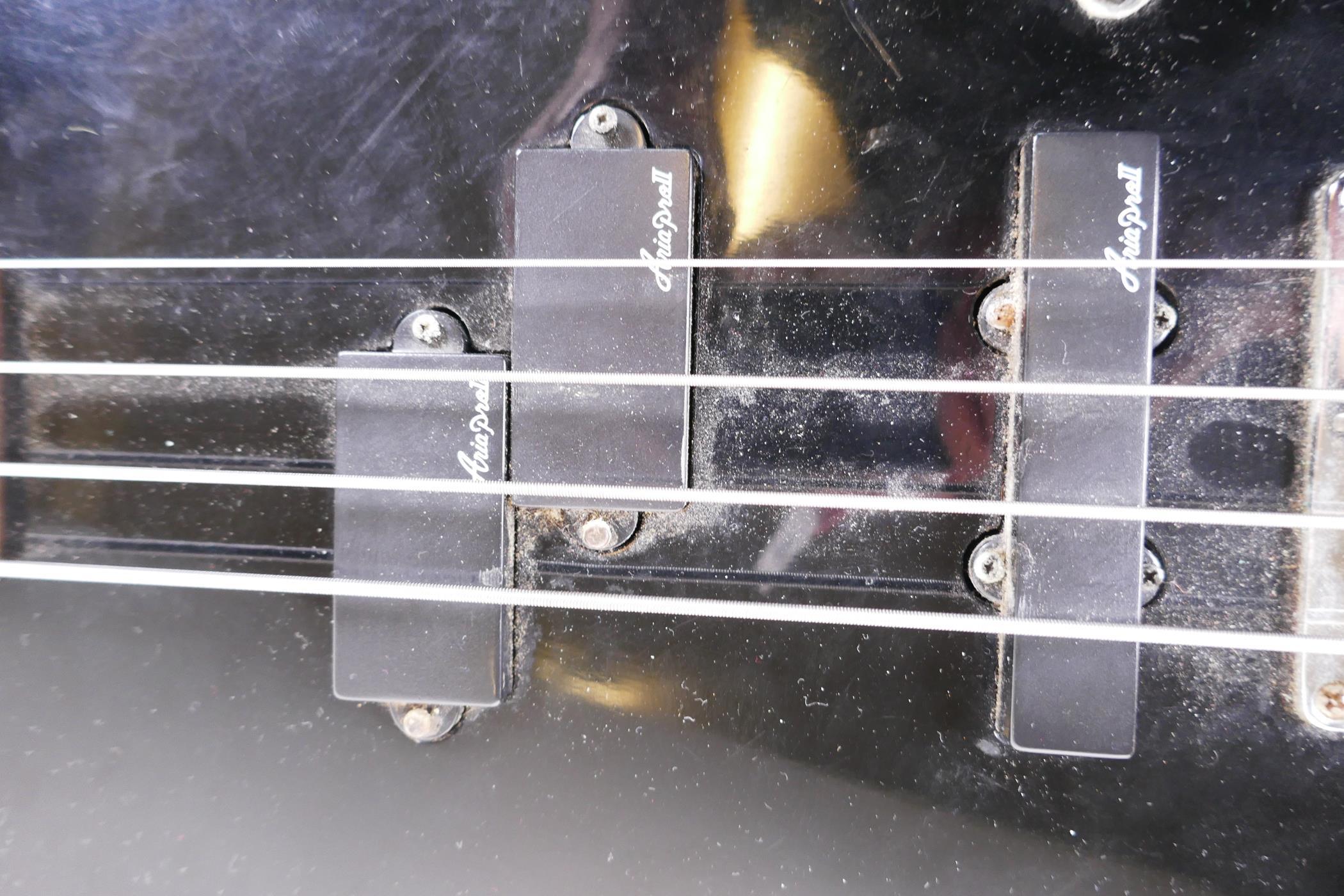 "An Aria Pro II bass guitar with three Aria II pick ups, 45"" long - Image 3 of 3"