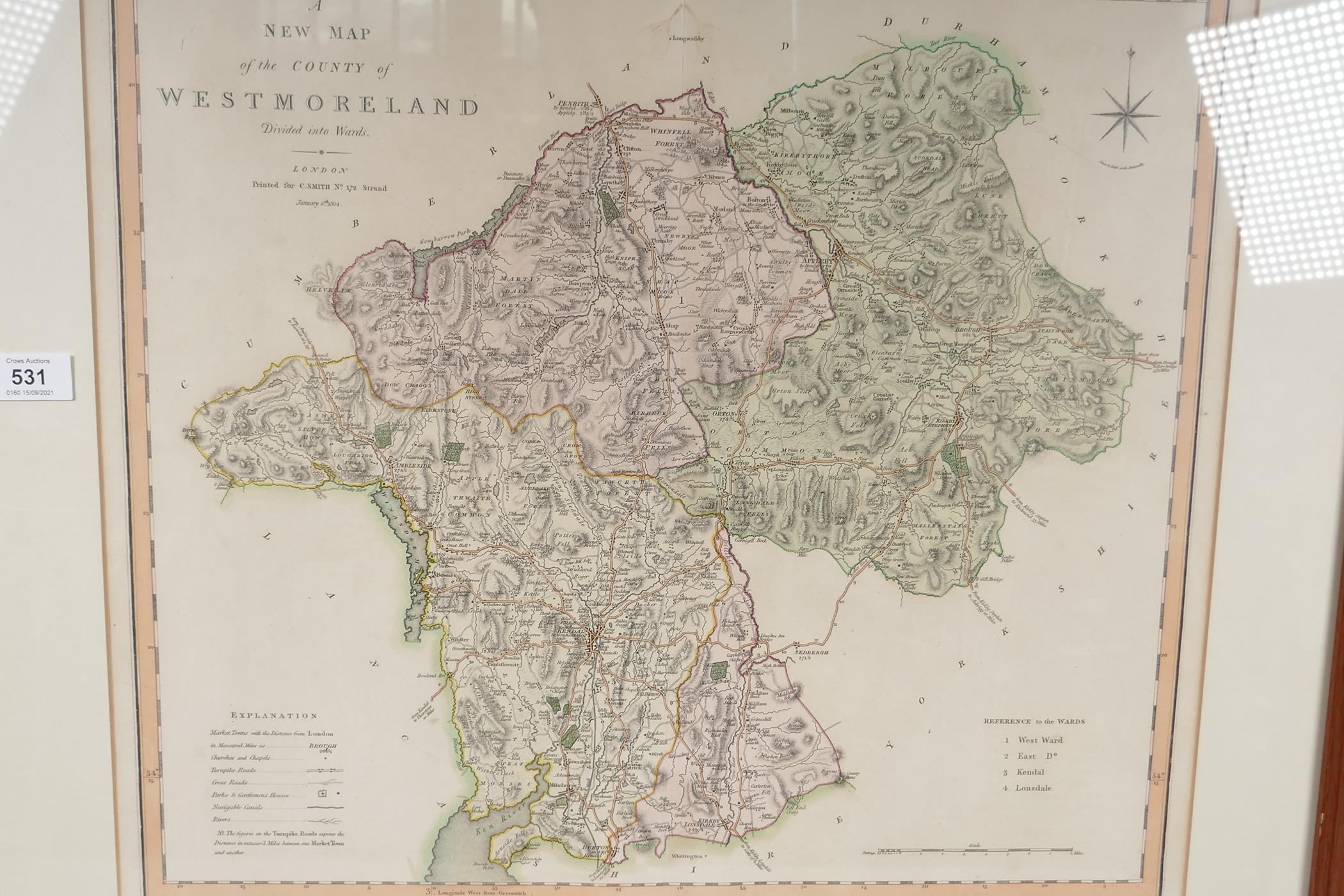"""A map of Westmorland, printed in London for C. Smith, January 1804, 21"""" x 19"""""""