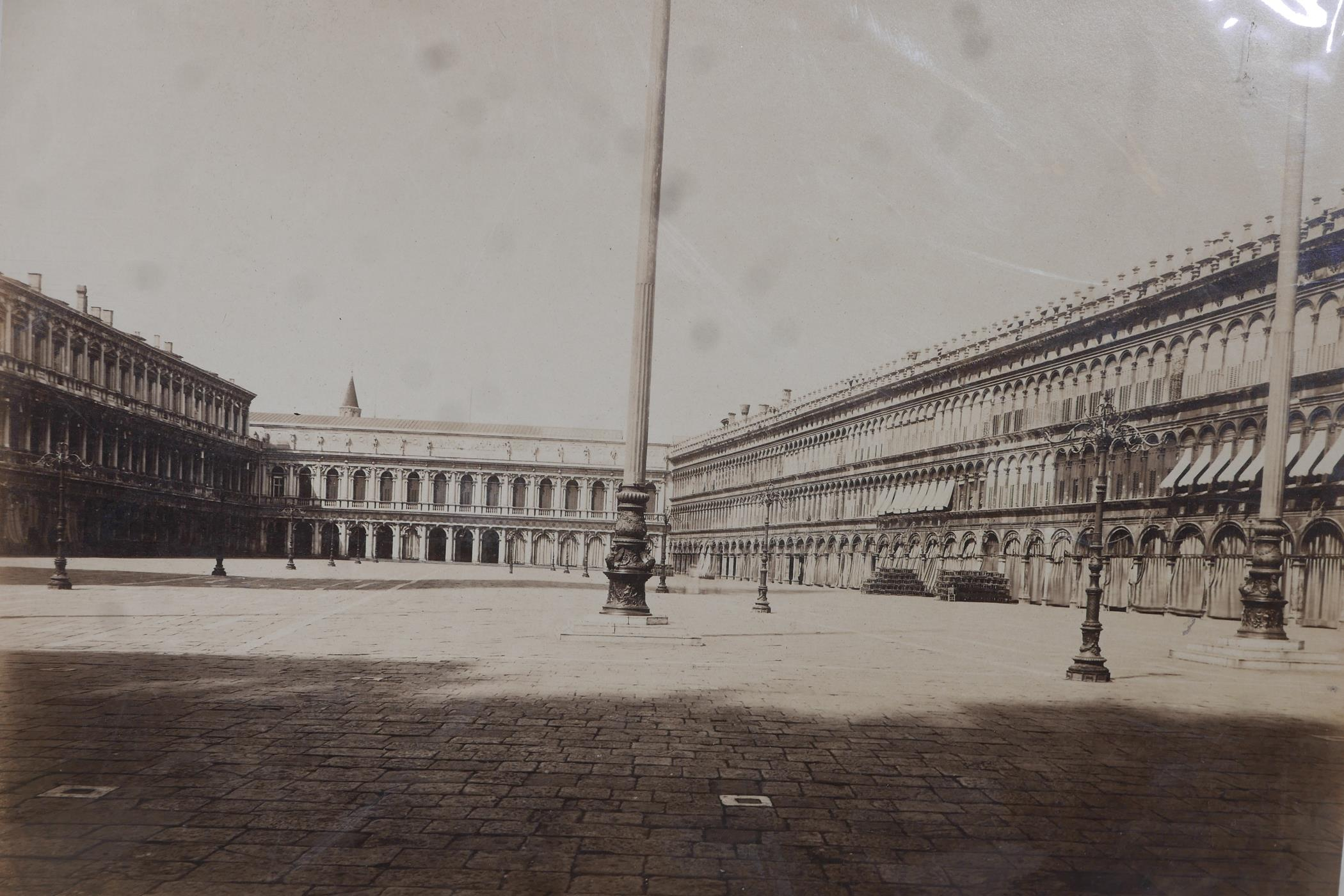 Three original sepia photographs of C19th Venice, Piazza di San Marco, the Basilica and the Arsenal, - Image 2 of 5