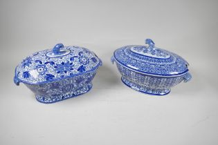 """A C19th blue and white soup tureen by Adams, 13"""" long, and another similar"""