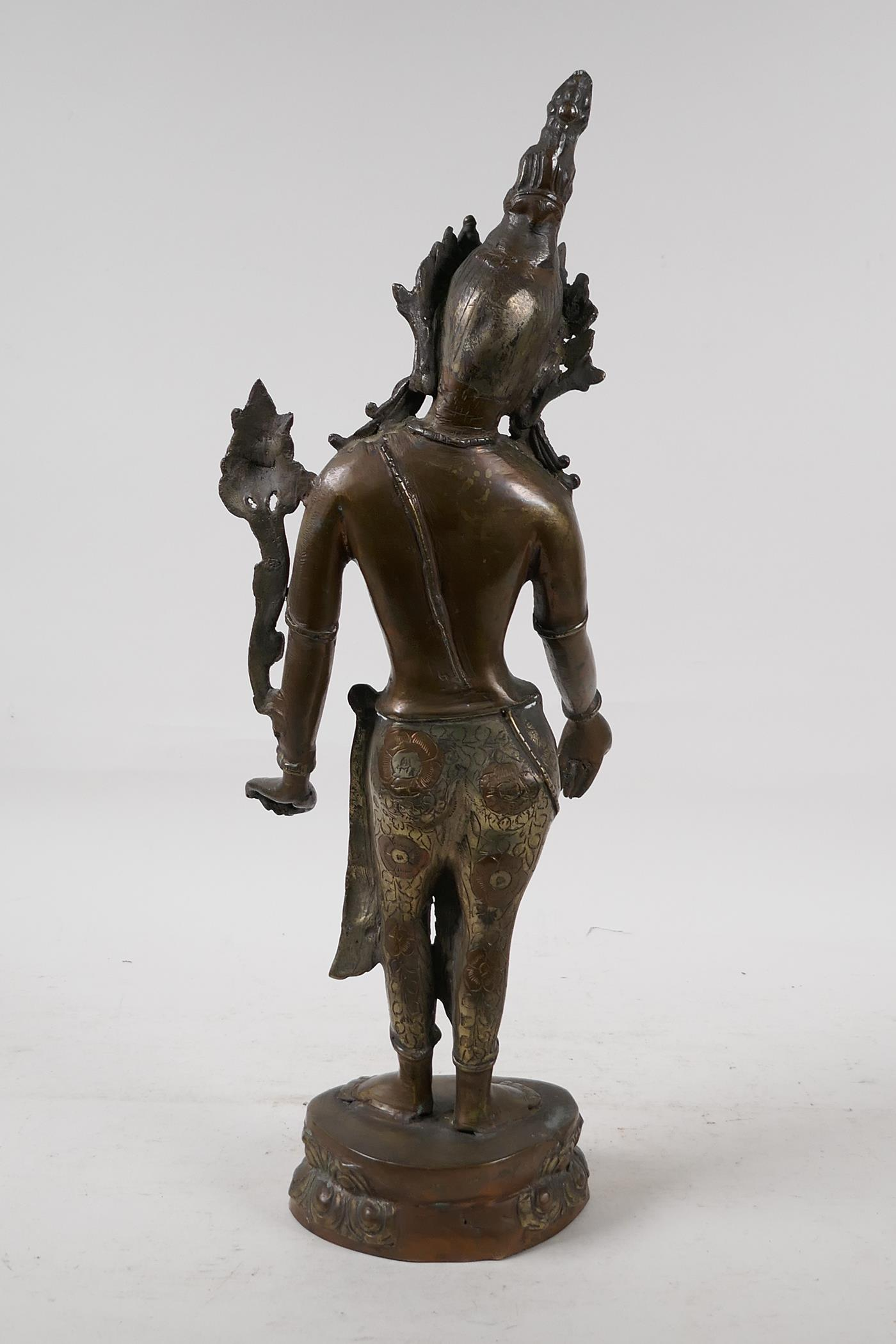 """An Indian bronze deity on a lotus throne, 17"""" high - Image 3 of 4"""