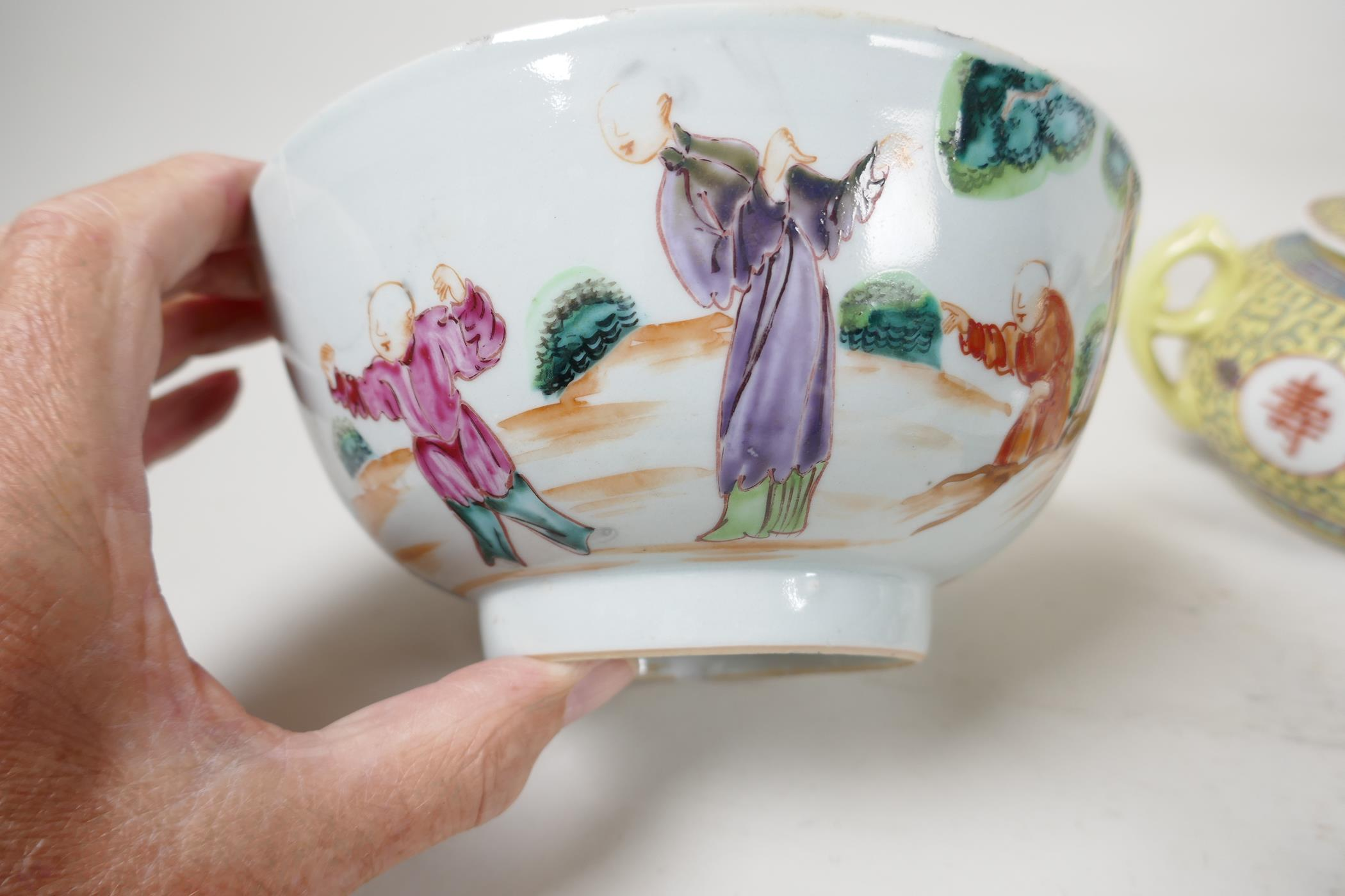 """Five pieces of Chinese porcelain to include a C19th bowl painted with figures, 7"""" diameter, a - Image 5 of 6"""
