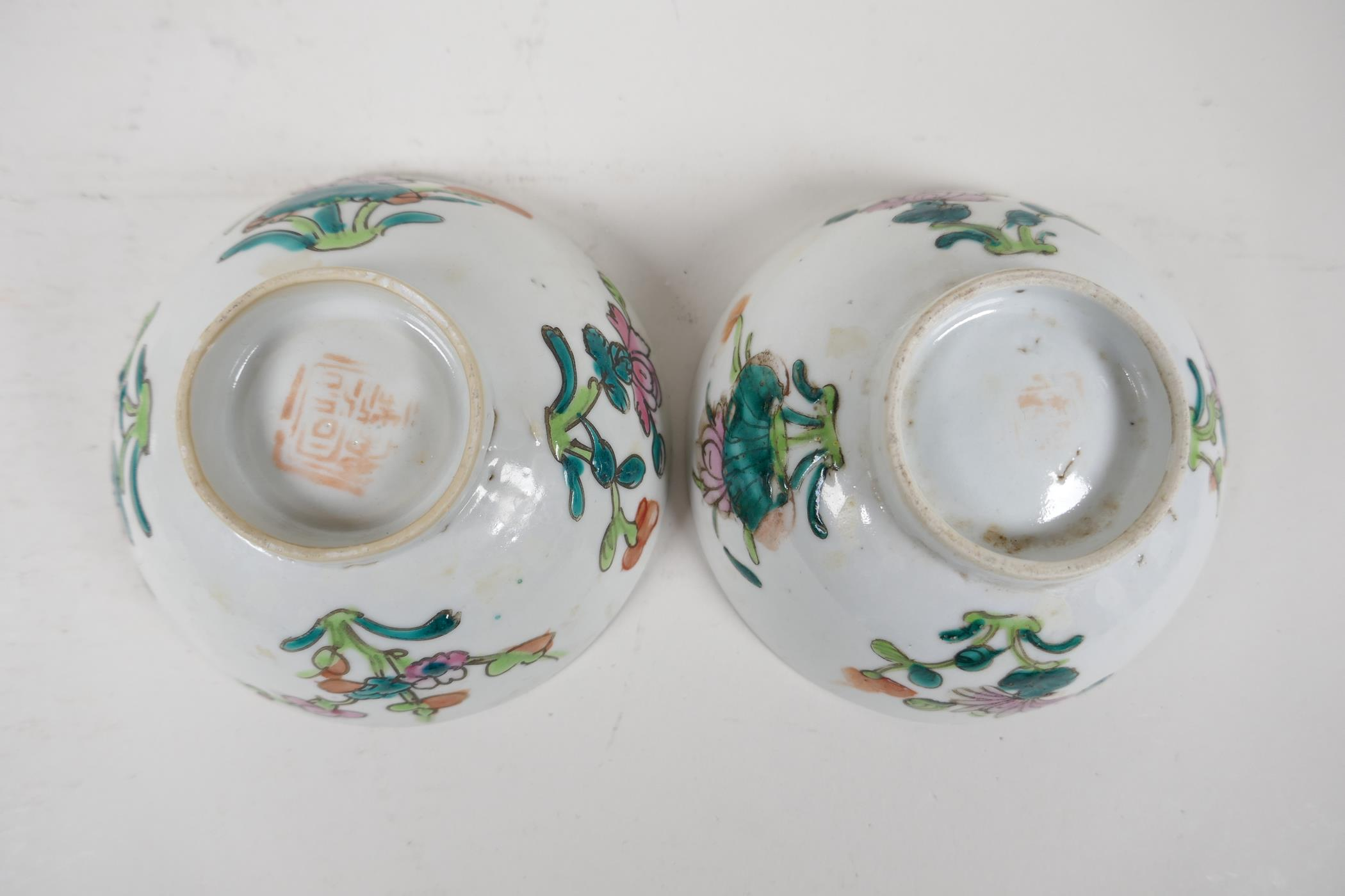 Six assorted Chinese republic period porcelain tea bowls with famille rose and vert enamel - Image 6 of 7