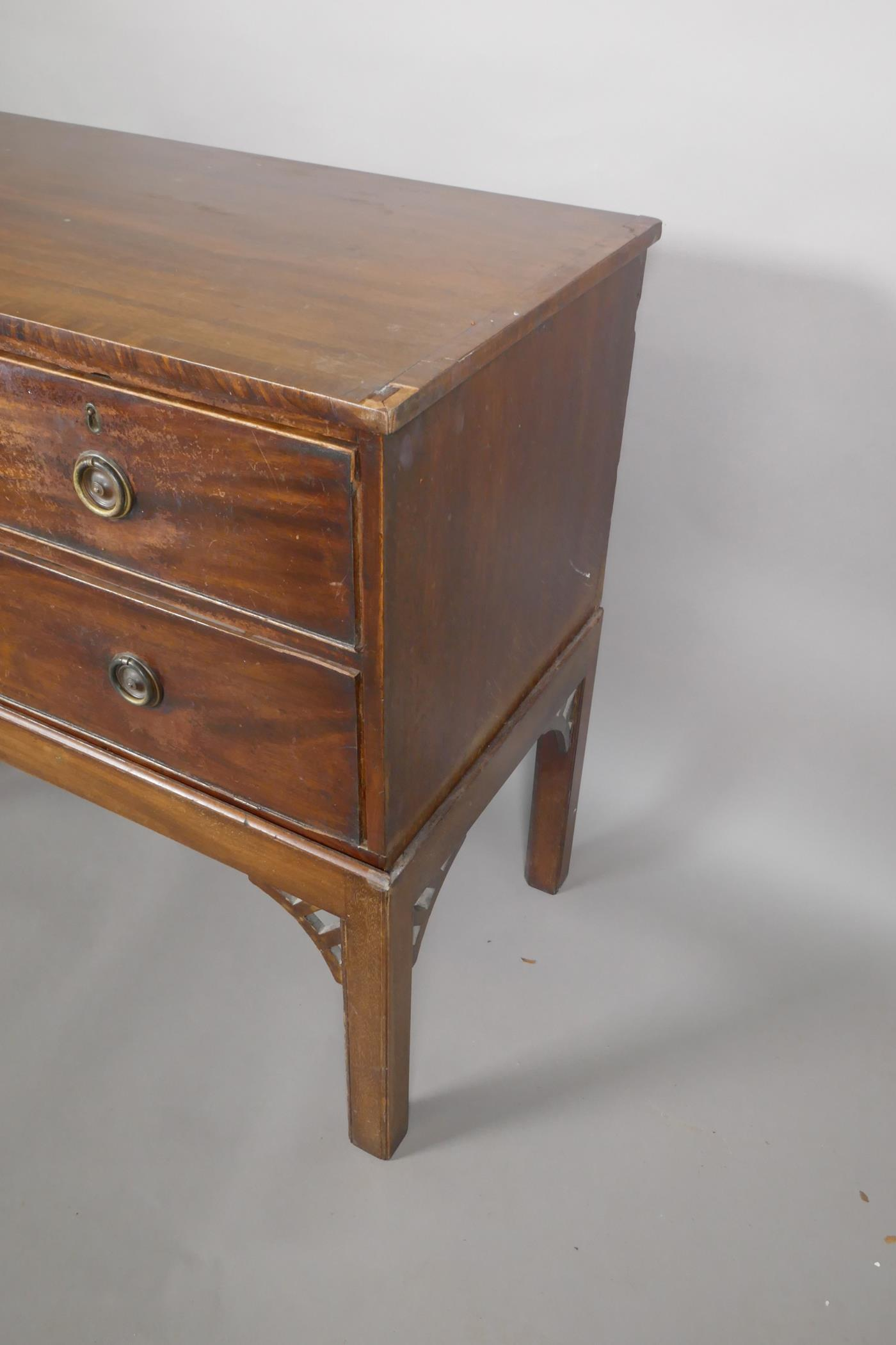 """A mahogany three drawer chest of drawers on an adapted stand, 32"""" high, 37"""" wide, 18"""" deep - Image 3 of 3"""
