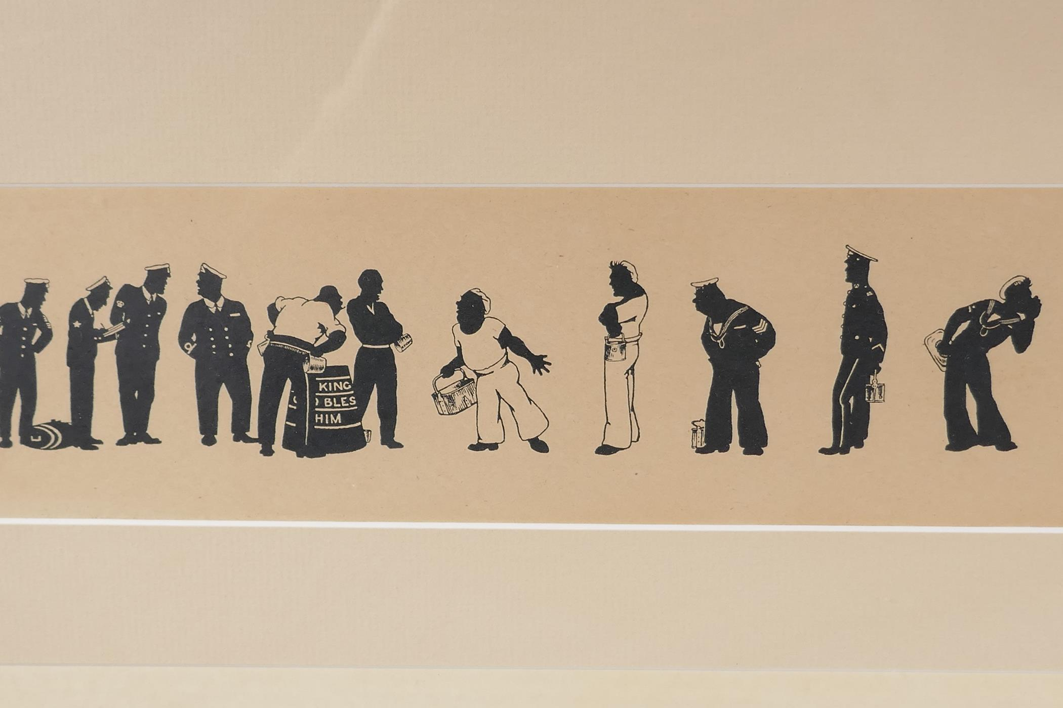 A.M. Hughes, three silhouette prints of naval life, Grog, Defaulters and Sunday Rounds, mounted in a - Image 3 of 9