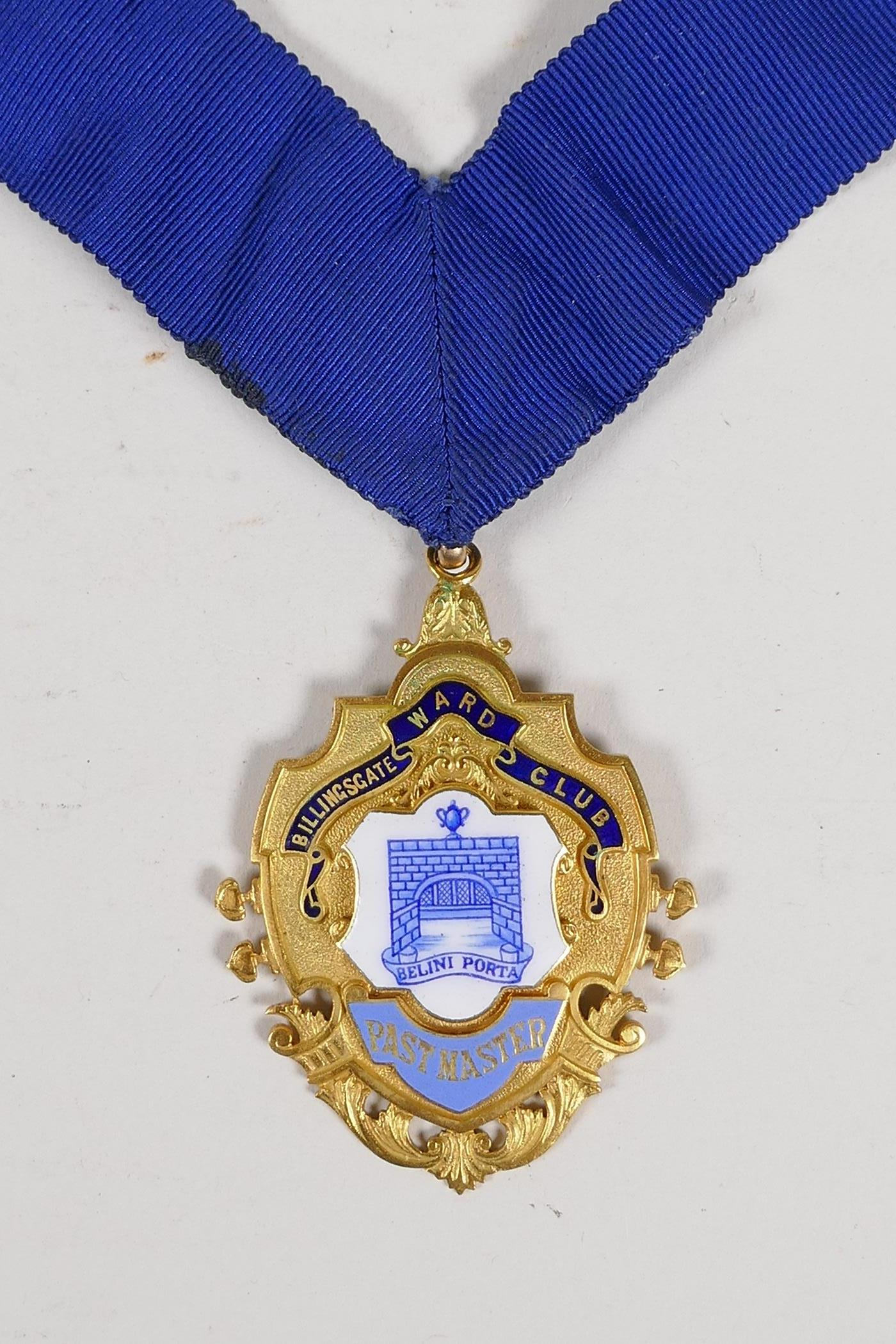 A 9ct gold and enamel medal for the position of Post Master of the Billingsgate Word Club, with