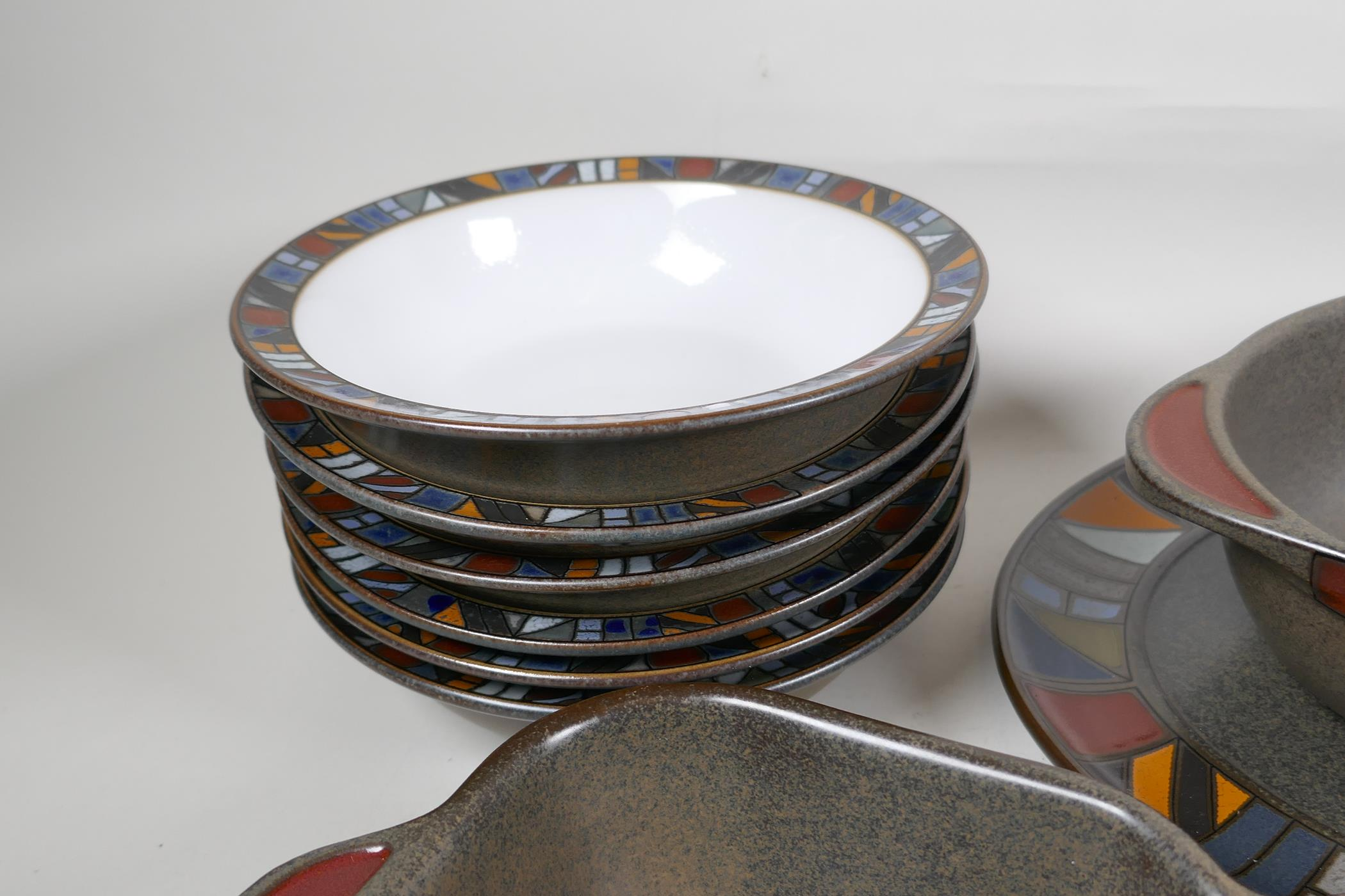 A Denby 'Marrakesh' six setting dinner service, with a pair of condiments, gravy jug, vegetable - Image 5 of 6