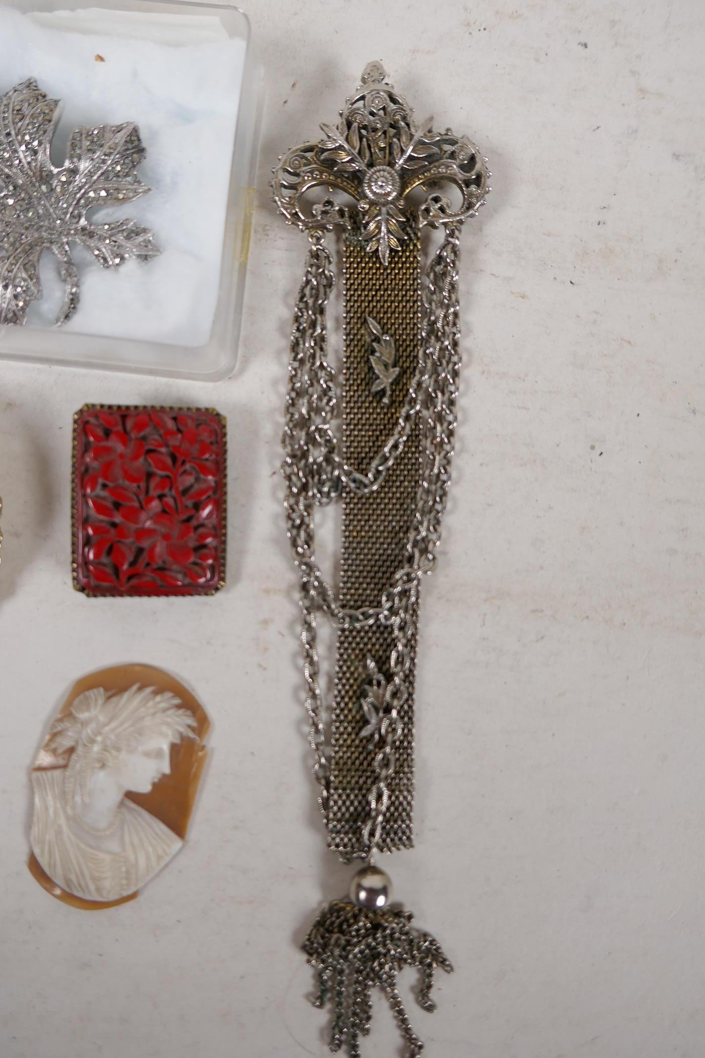 A pair of silver gilt and jade bead stud earrings, an unmarked white metal chain pendant brooch, a - Image 2 of 5