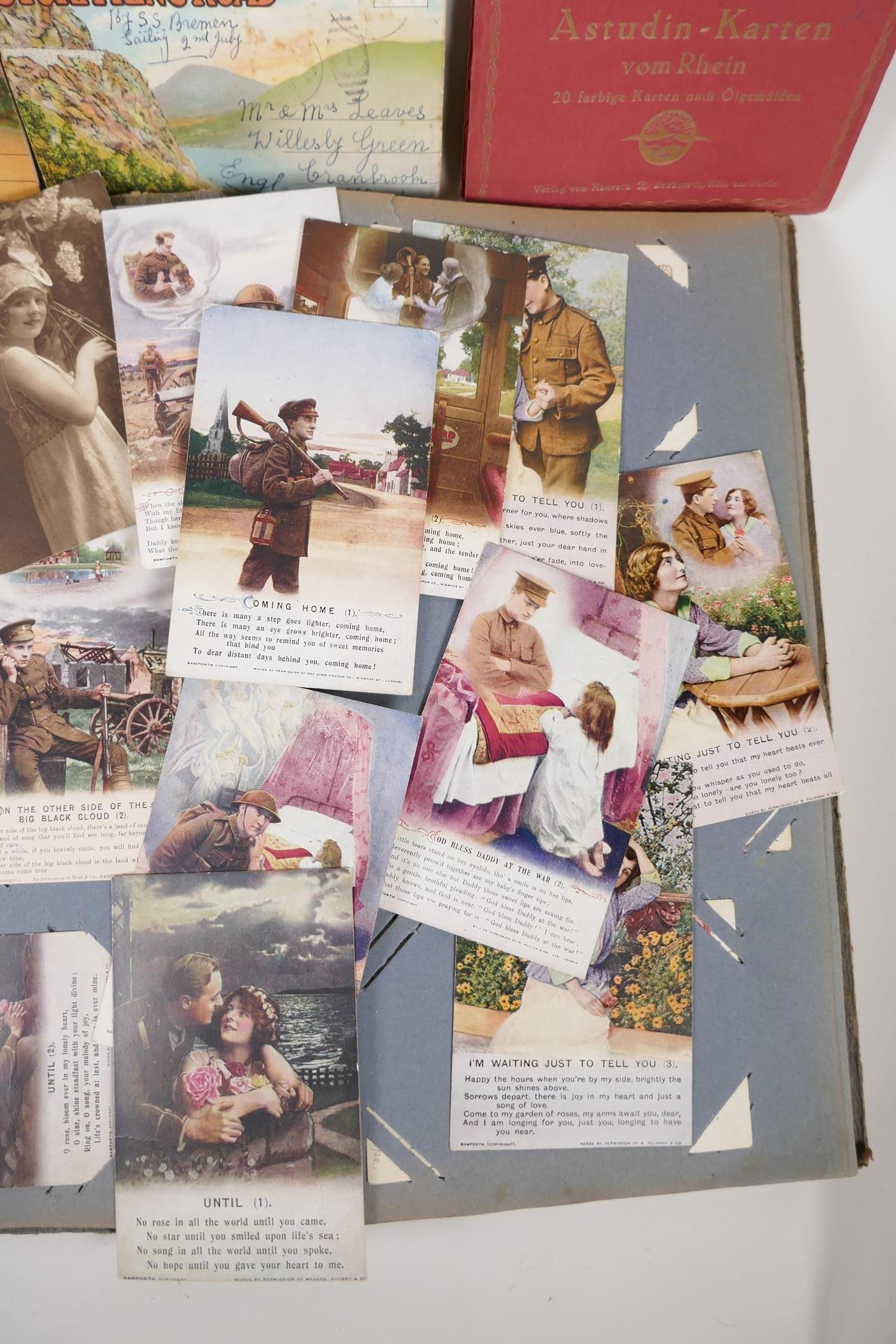 A quantity of C20th postcards, mostly WWI sweetheart cards, and French topographical, and a - Image 2 of 7