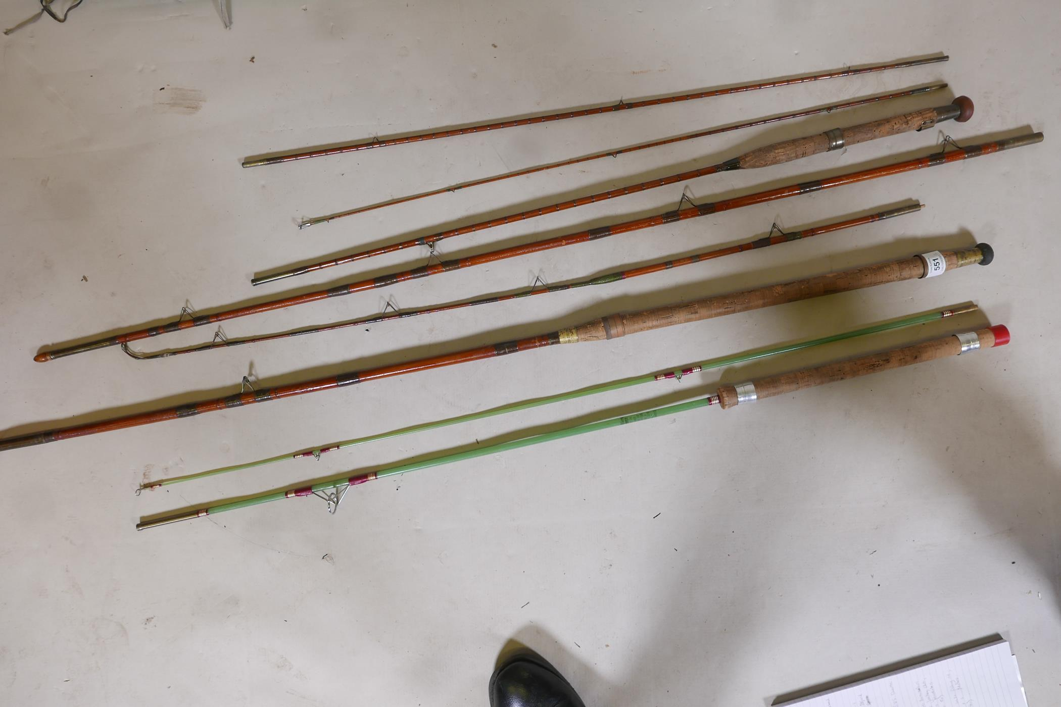 A vintage Army & Navy of Victoria three section fishing rod, 8½ft, another by Eggington & Son, - Image 5 of 5