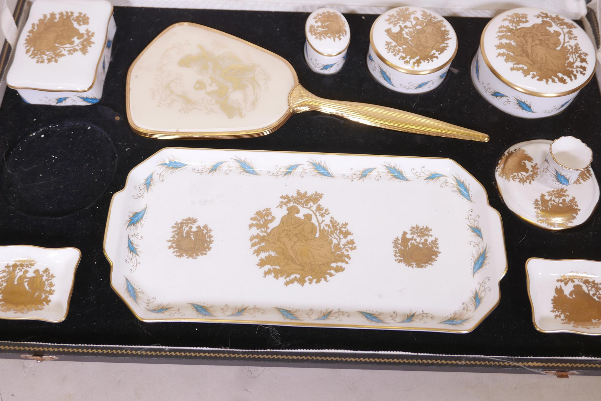 """A Crown Staffordshire dressing table set, lacks one candle holder, dish 12"""" long - Image 2 of 3"""