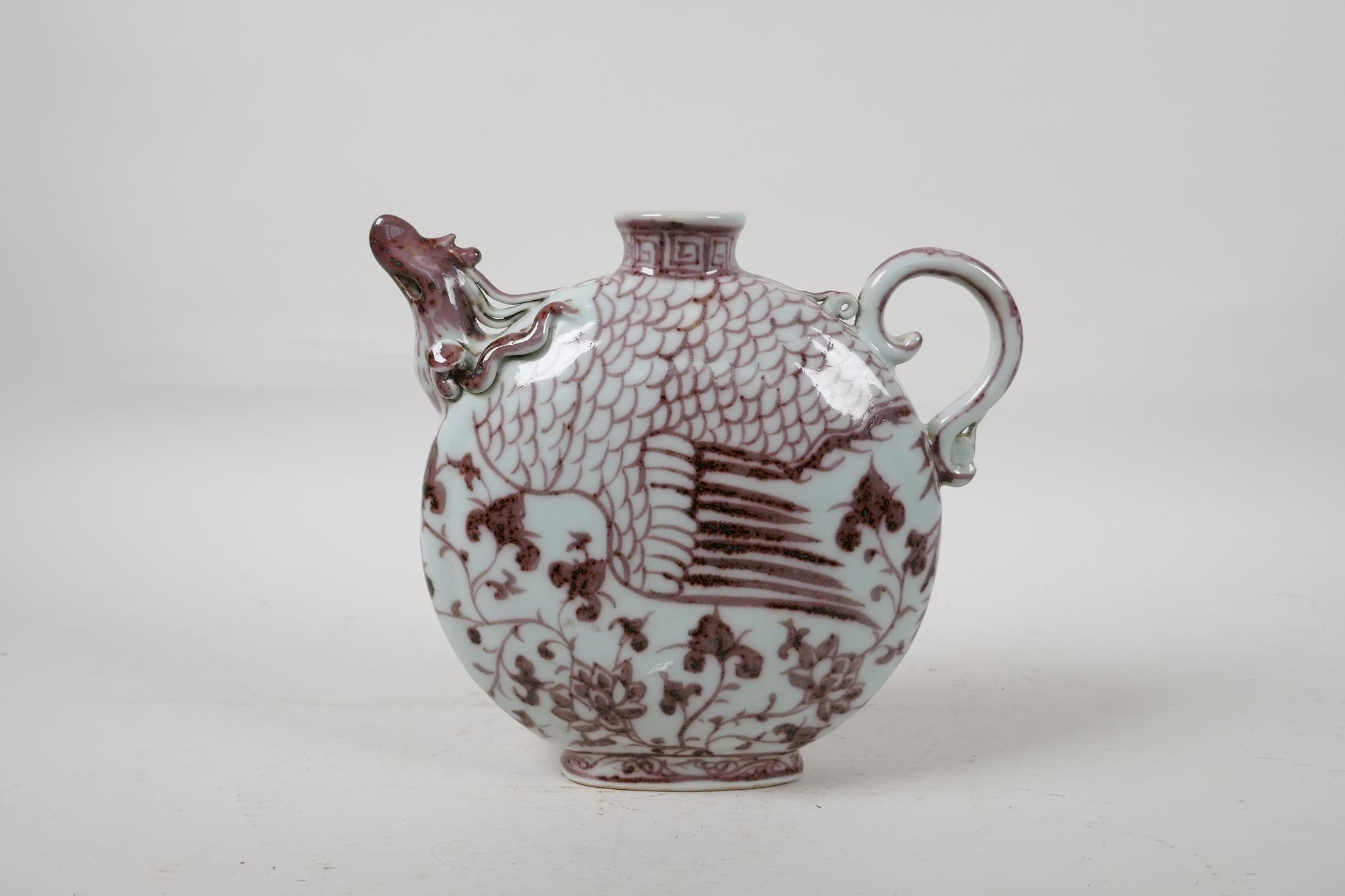 """A Chinese red and white porcelain phoenix pourer, 7"""" high - Image 4 of 6"""