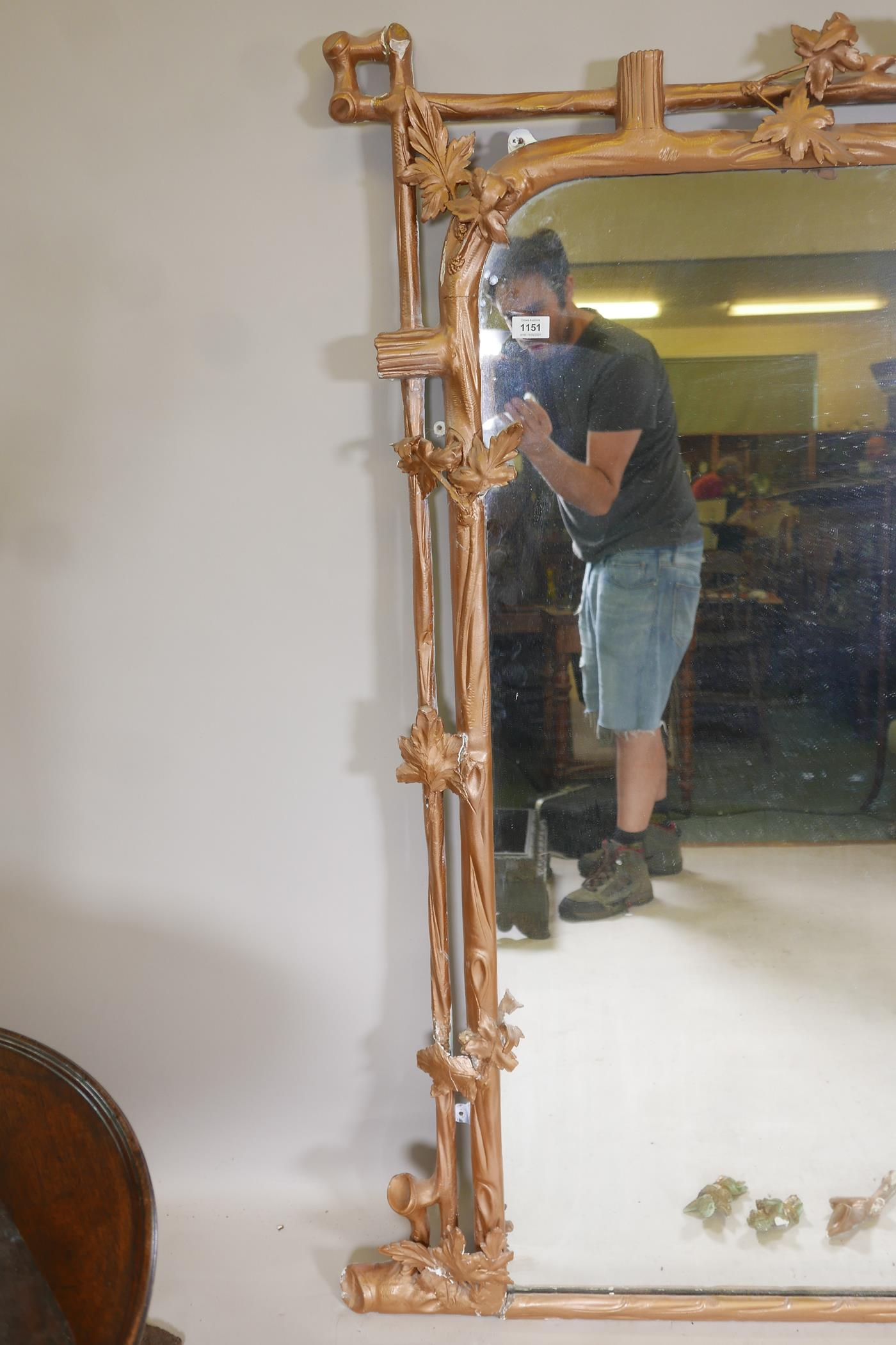"""A C19th giltwood and composition overmantel mirror of naturalistic form, A/F, 52"""" x 59"""" - Image 5 of 5"""