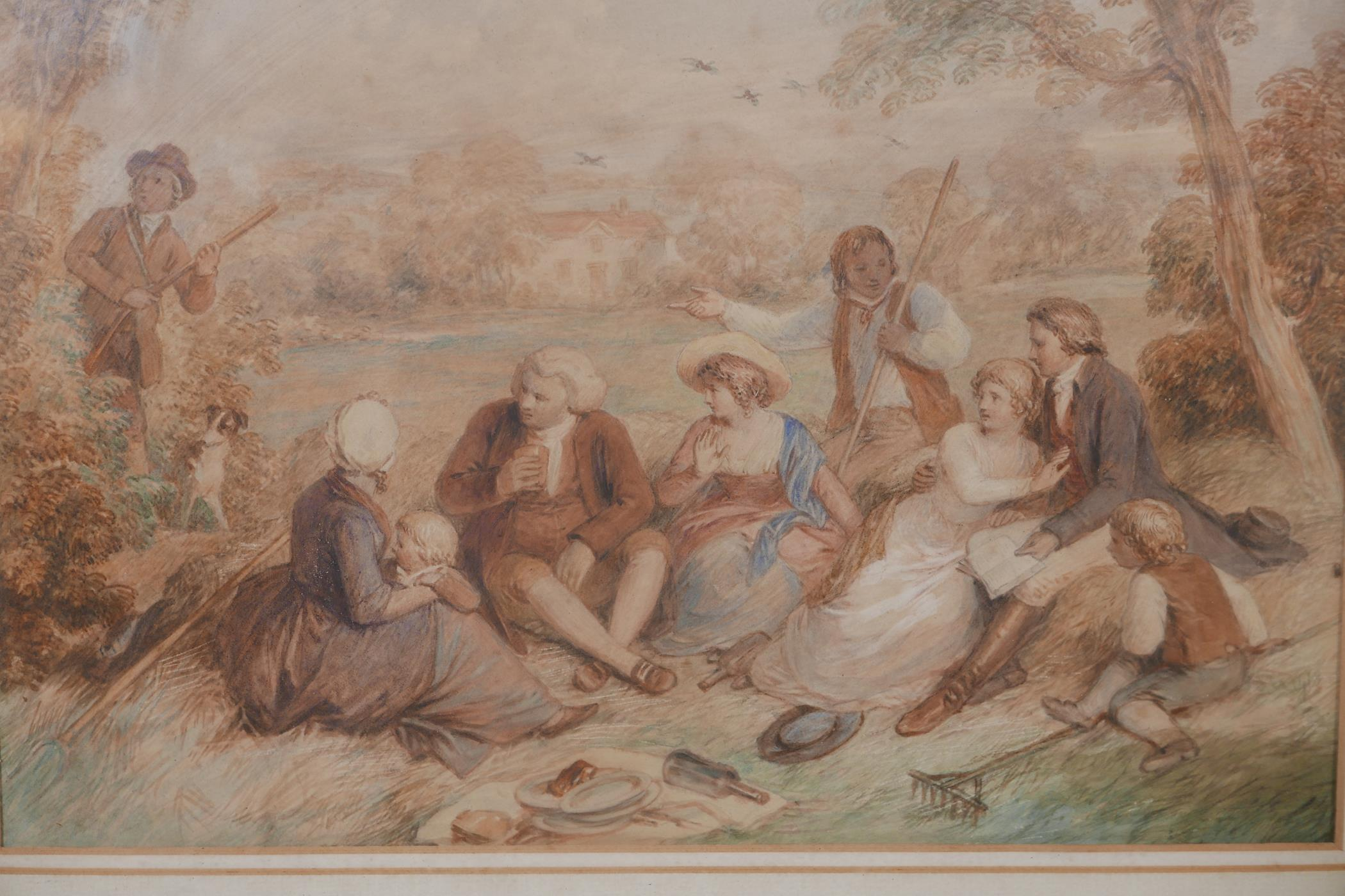 """Attributed to John Massey Wright, a break from the harvest, watercolour, unsigned, 12"""" x 9"""""""