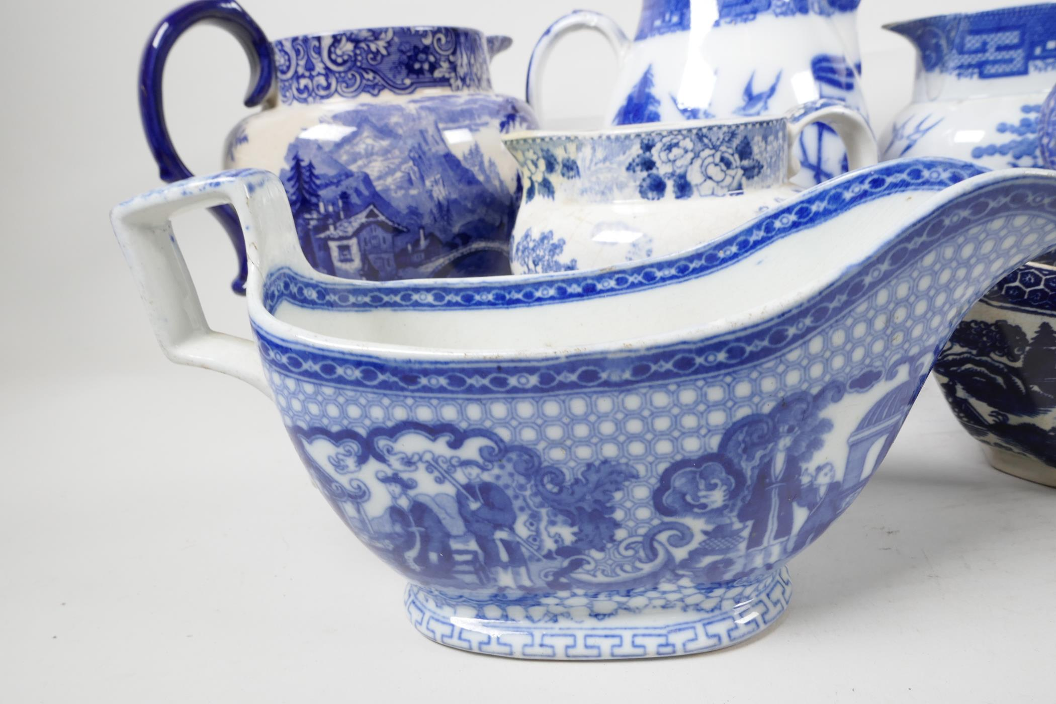 """Six blue and white transfer printed jugs and three gravy boats, various patterns, largest 6"""" high - Image 4 of 8"""