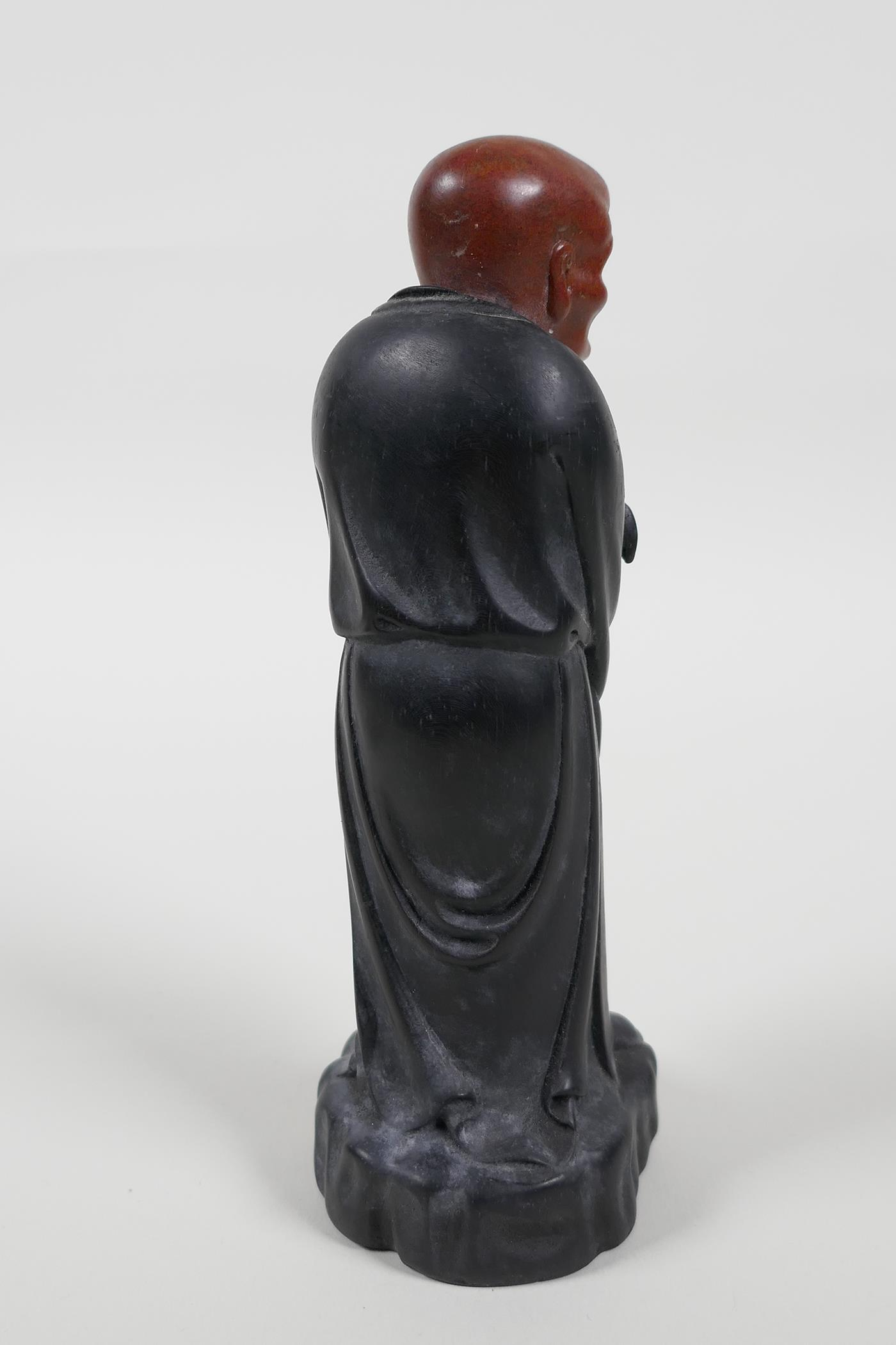 """A Chinese carved Zitan wood figure of Lohan with soapstone head, 6"""" high - Image 5 of 6"""