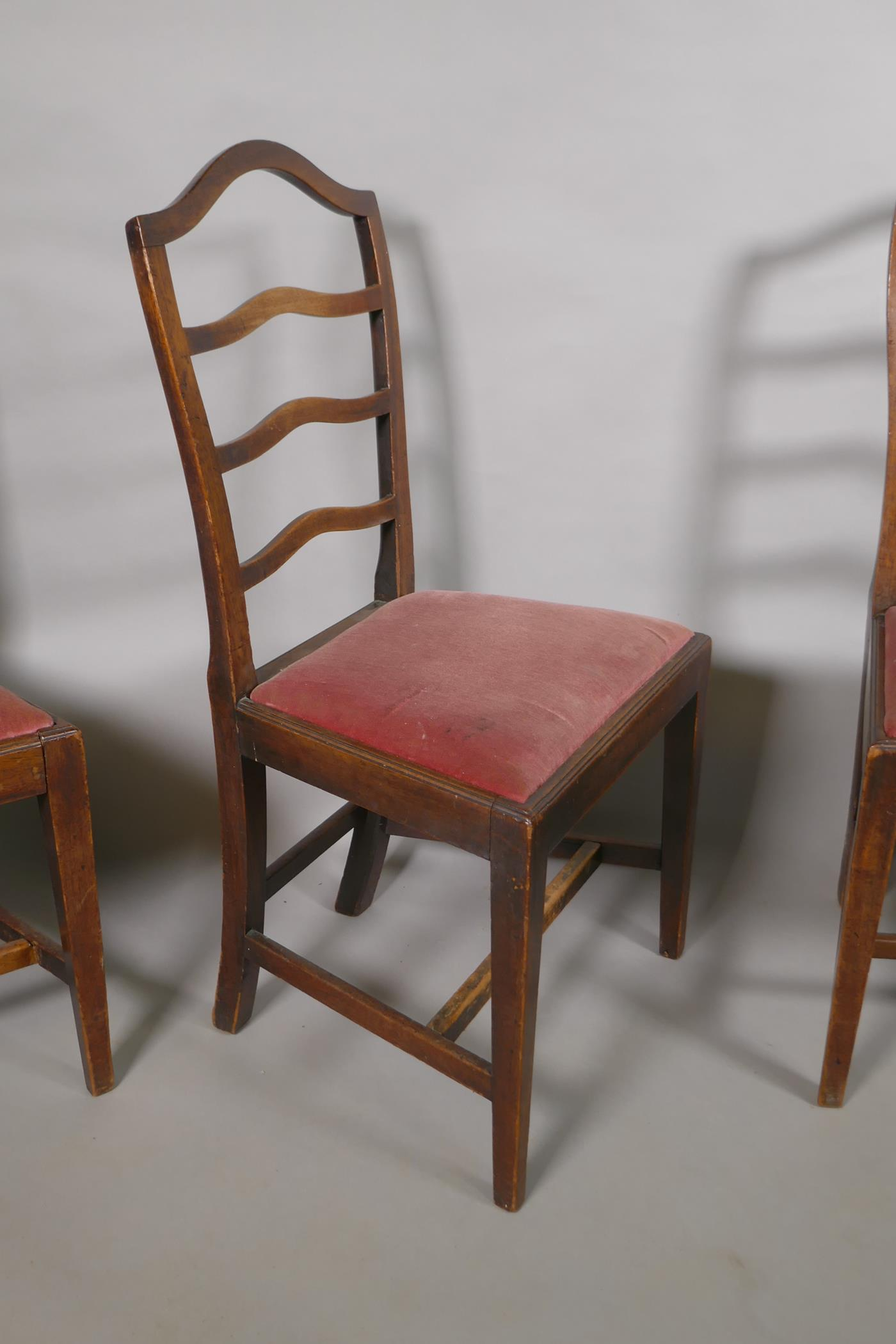 """A set of four C19th mahogany ladder back chairs with drop in seats, 38"""" high - Image 2 of 2"""