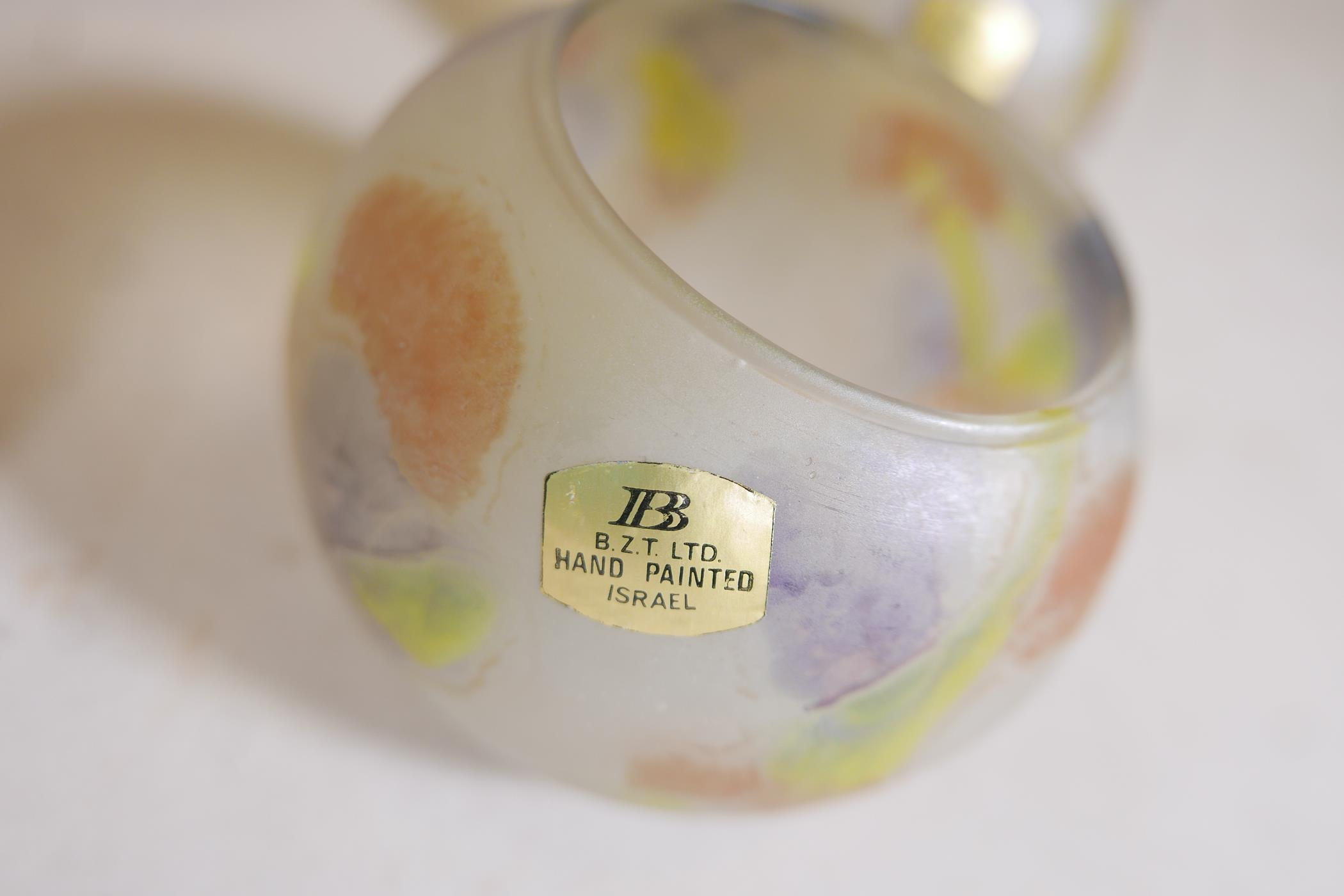 A quantity of Israeli hand painted studio glass to include lamp shades, vases, bowls and dishes, - Image 8 of 8