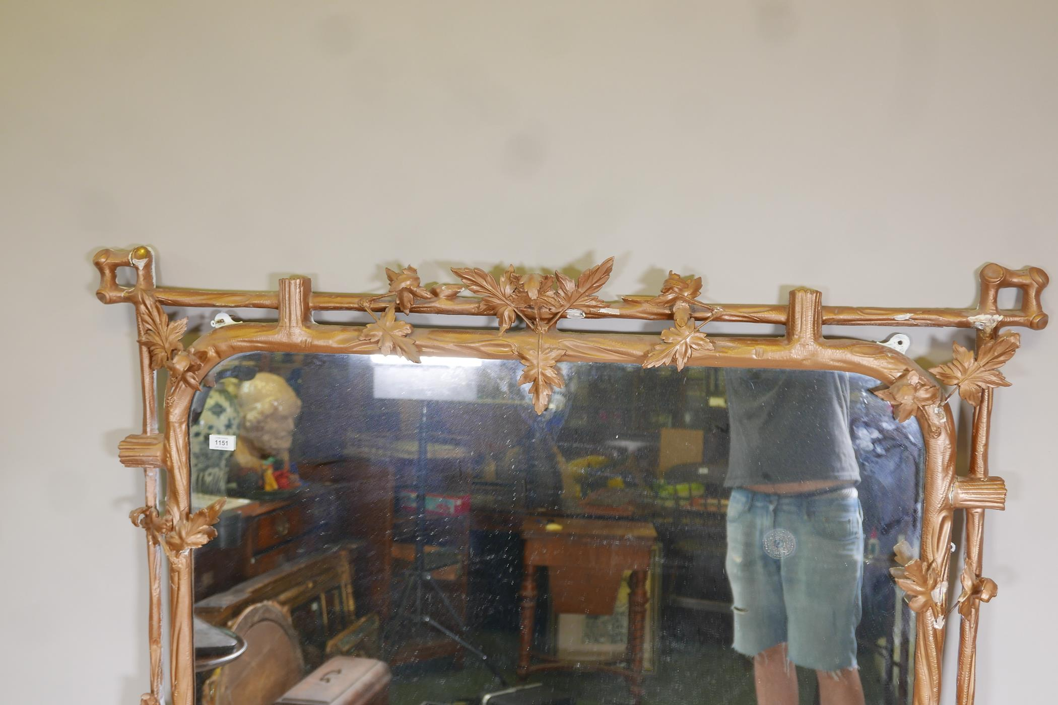 """A C19th giltwood and composition overmantel mirror of naturalistic form, A/F, 52"""" x 59"""" - Image 3 of 5"""