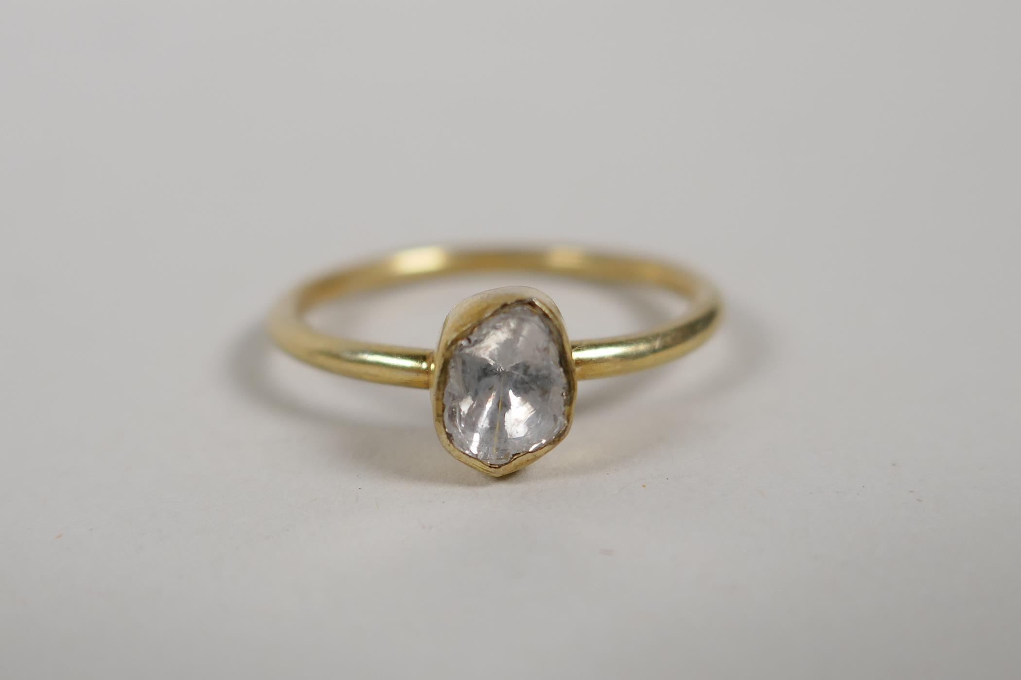 A silver gilt uncut diamond solitaire ring, size 'P'