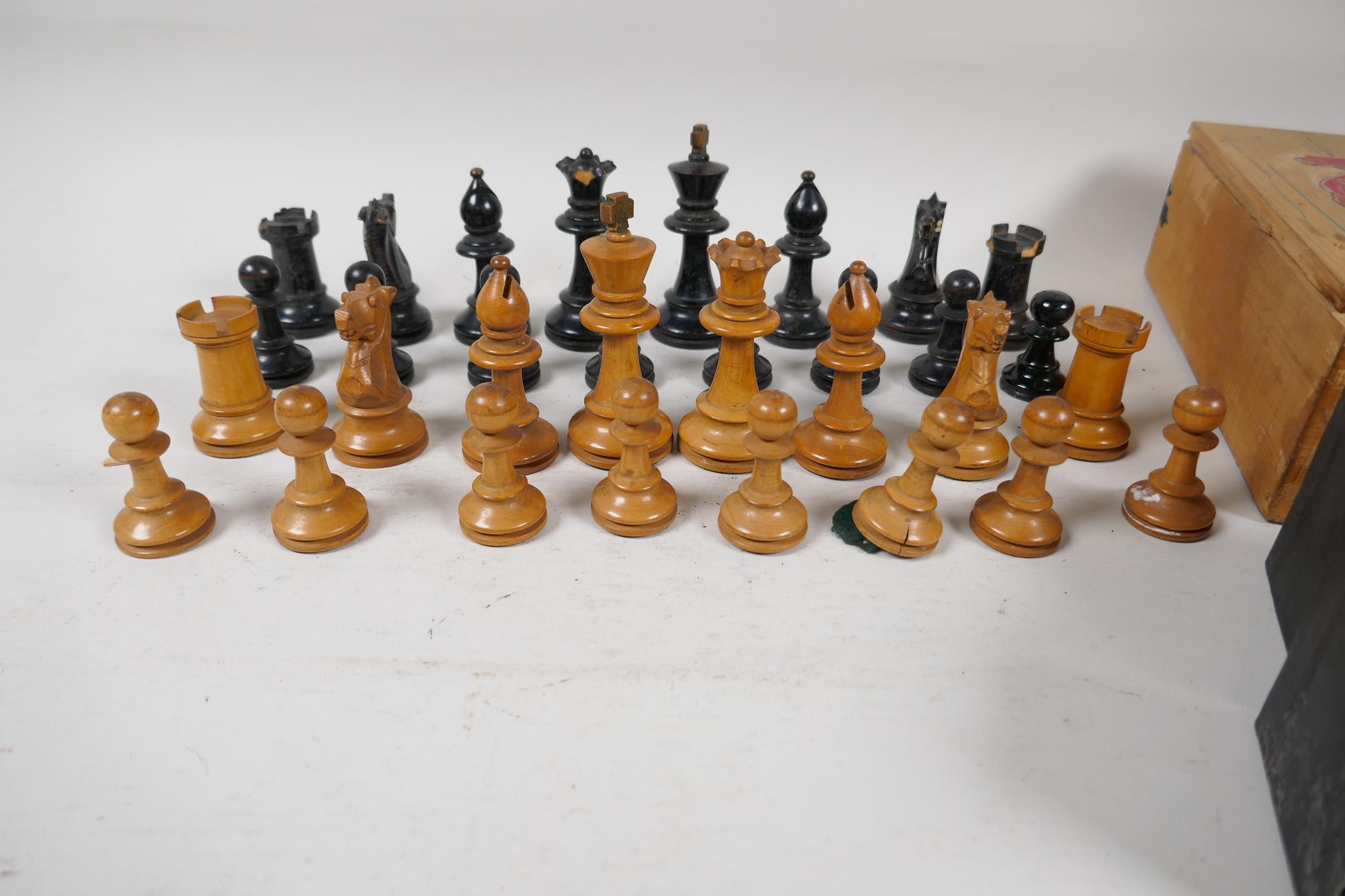 "A Stanton boxwood chess set, kings 2¾"" high, and a set of three Vitalite Freak billiard balls - Image 3 of 4"