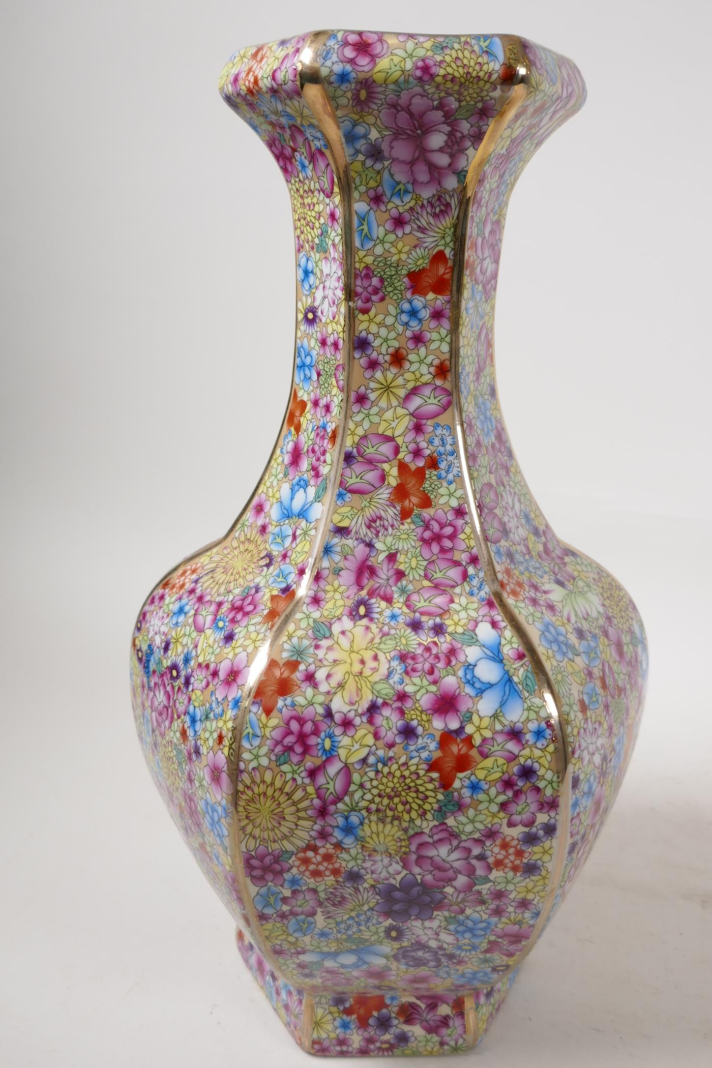"""A Chinese porcelain hexagonal vase decorated in the mille fleur pattern, seal mark to base, 13"""" high - Image 3 of 4"""