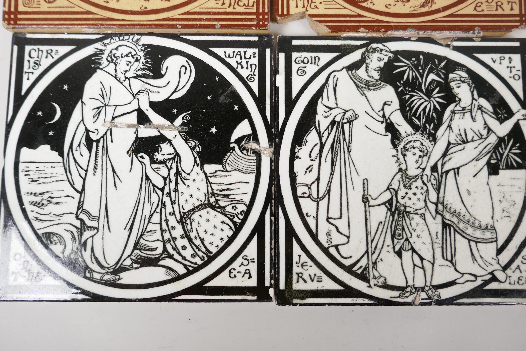 """A pair of Minton tiles, 'Jacobs Dreams', 6"""" square, along with two others, 'Going up to Jerusalem' - Image 3 of 3"""