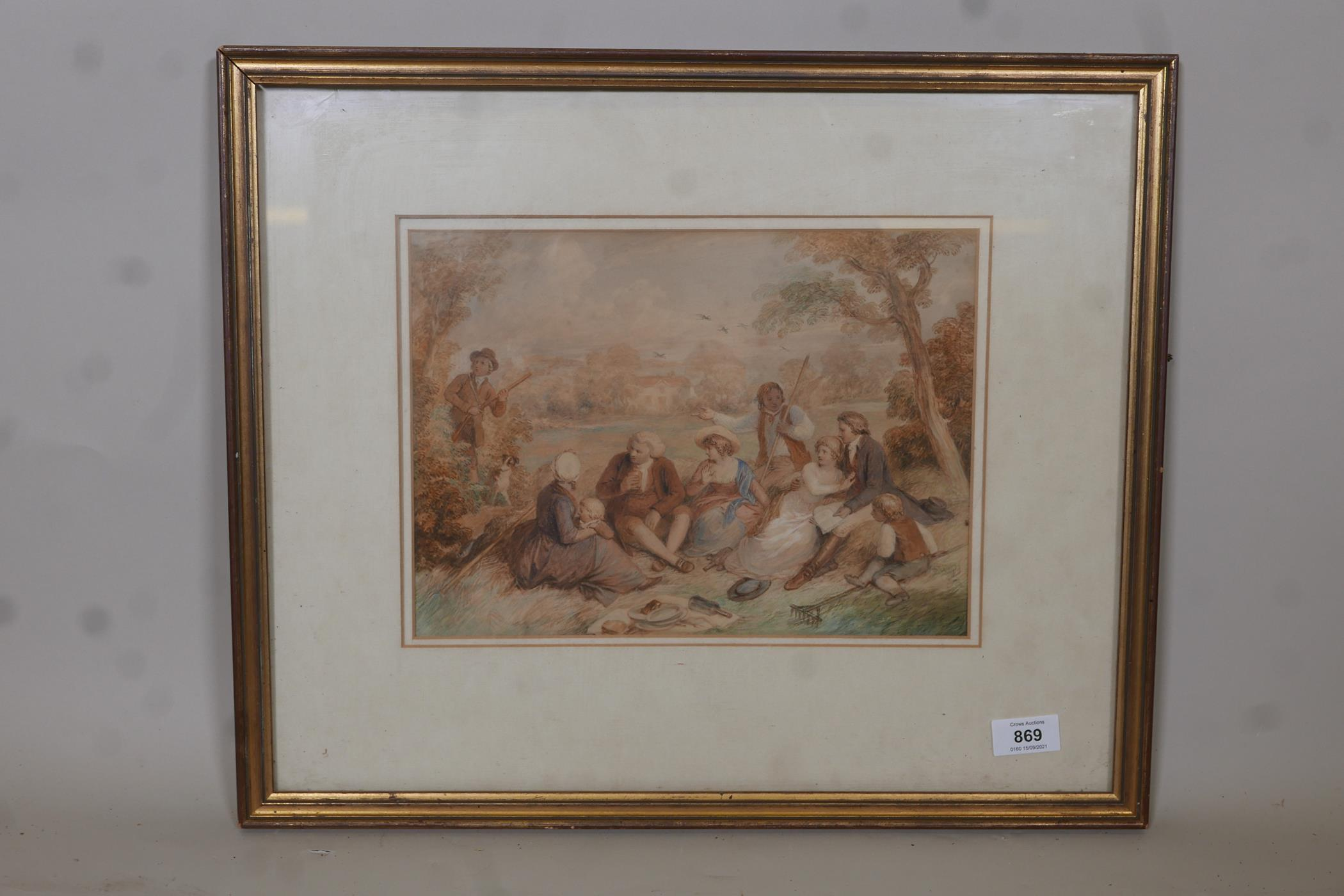 """Attributed to John Massey Wright, a break from the harvest, watercolour, unsigned, 12"""" x 9"""" - Image 2 of 3"""