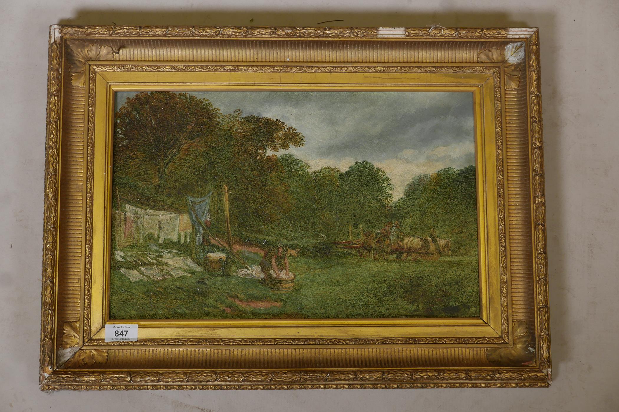 Samuel Bough, landscape with washer women, signed Sam Bough, oil on millboard - Image 2 of 4